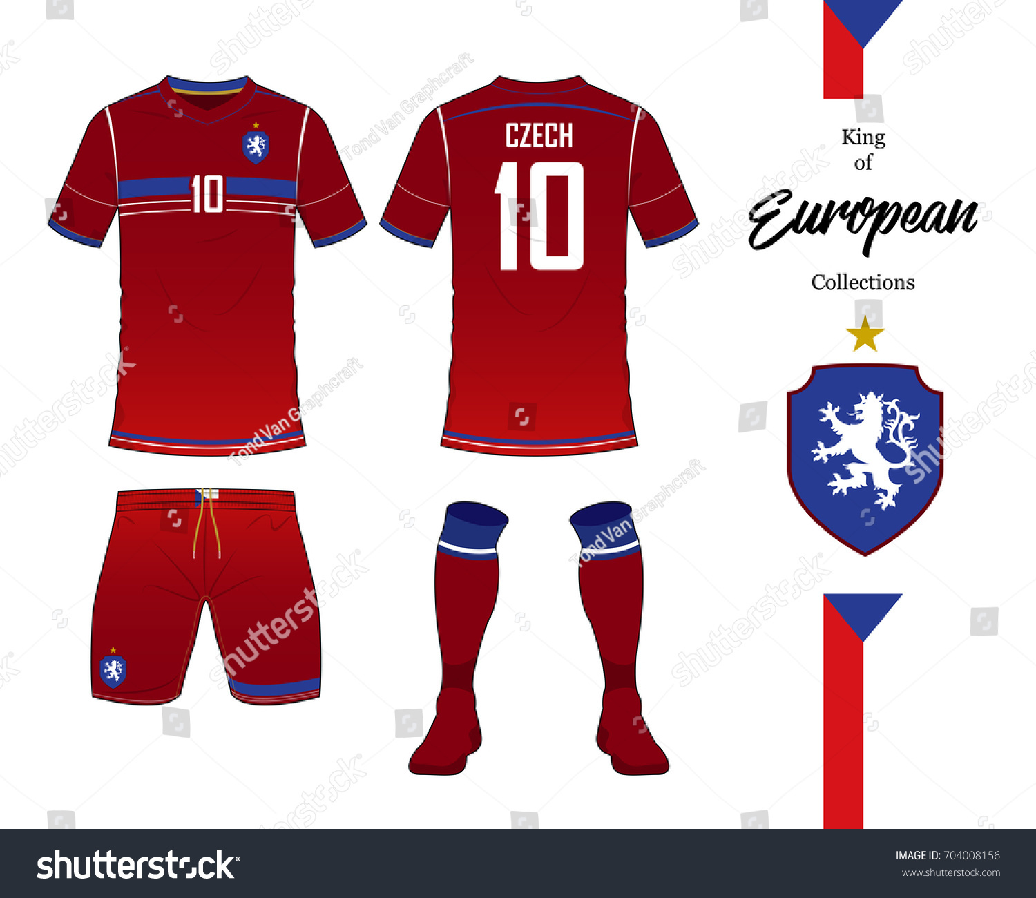 Czech Republic Football National Team In Euro Championship Concept Soccer Jersey Or Kit Template