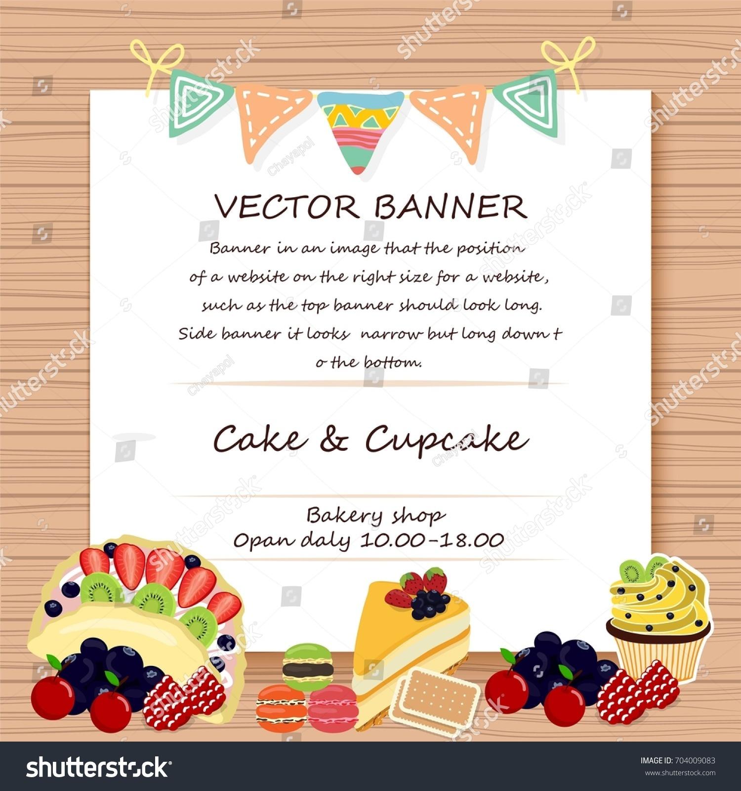 Banner Cake Invitation Background Cake Shop Stock Vector Royalty