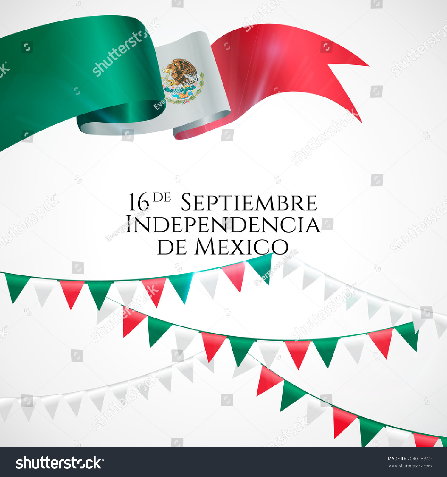 16 September Mexico Happy Independence Day Stock Vector Royalty