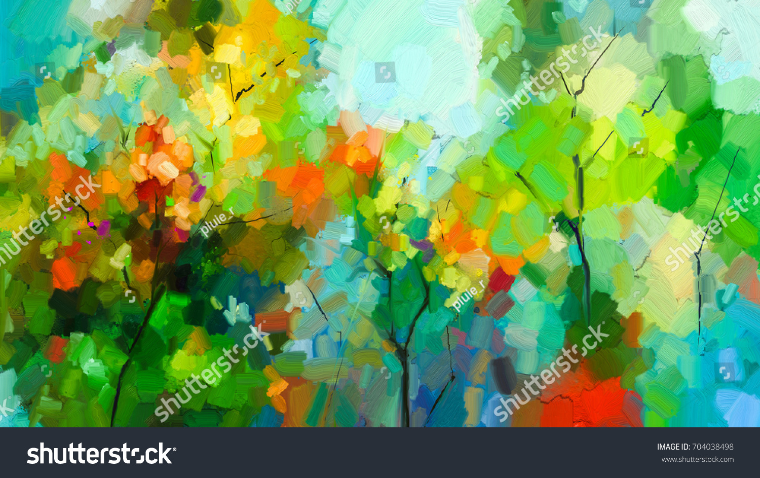 Abstract Colorful Oil Painting Landscape On Stock Illustration ...