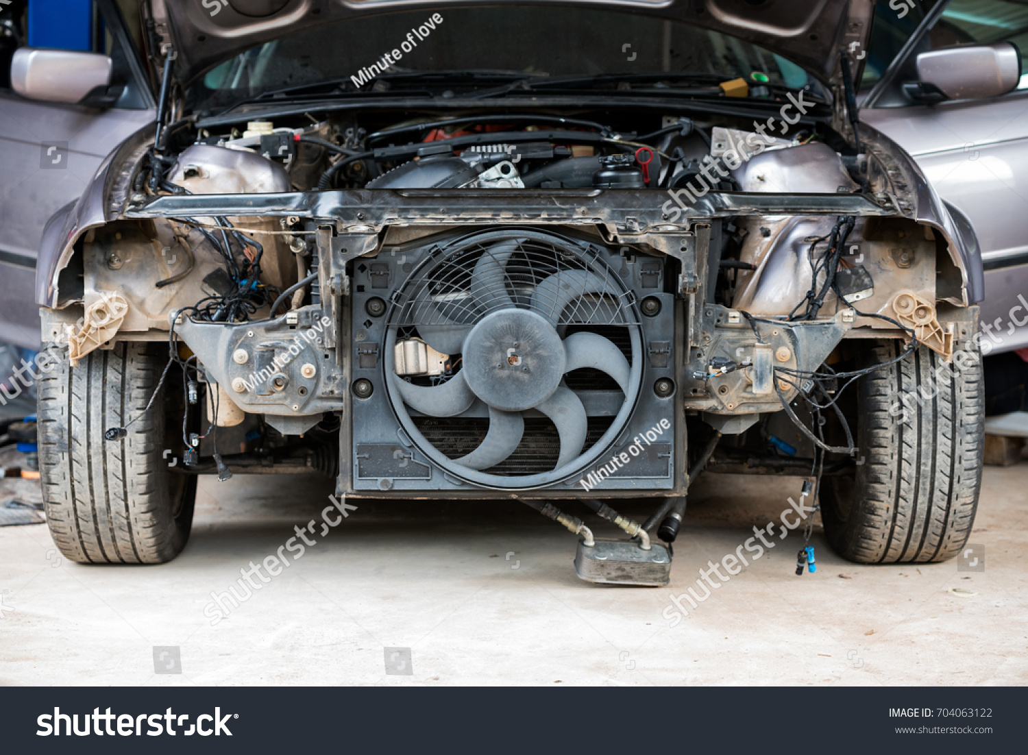 Cooling Fan System Old Car Has Stock Photo Edit Now 704063122 Auto Cool Of An Been Dismantling For Maintenance In Garage