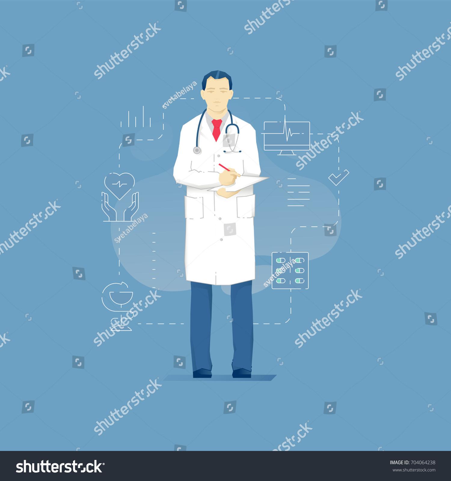 Vector Illustration Man Doctor White Coat Stock Vector 704064238 ...