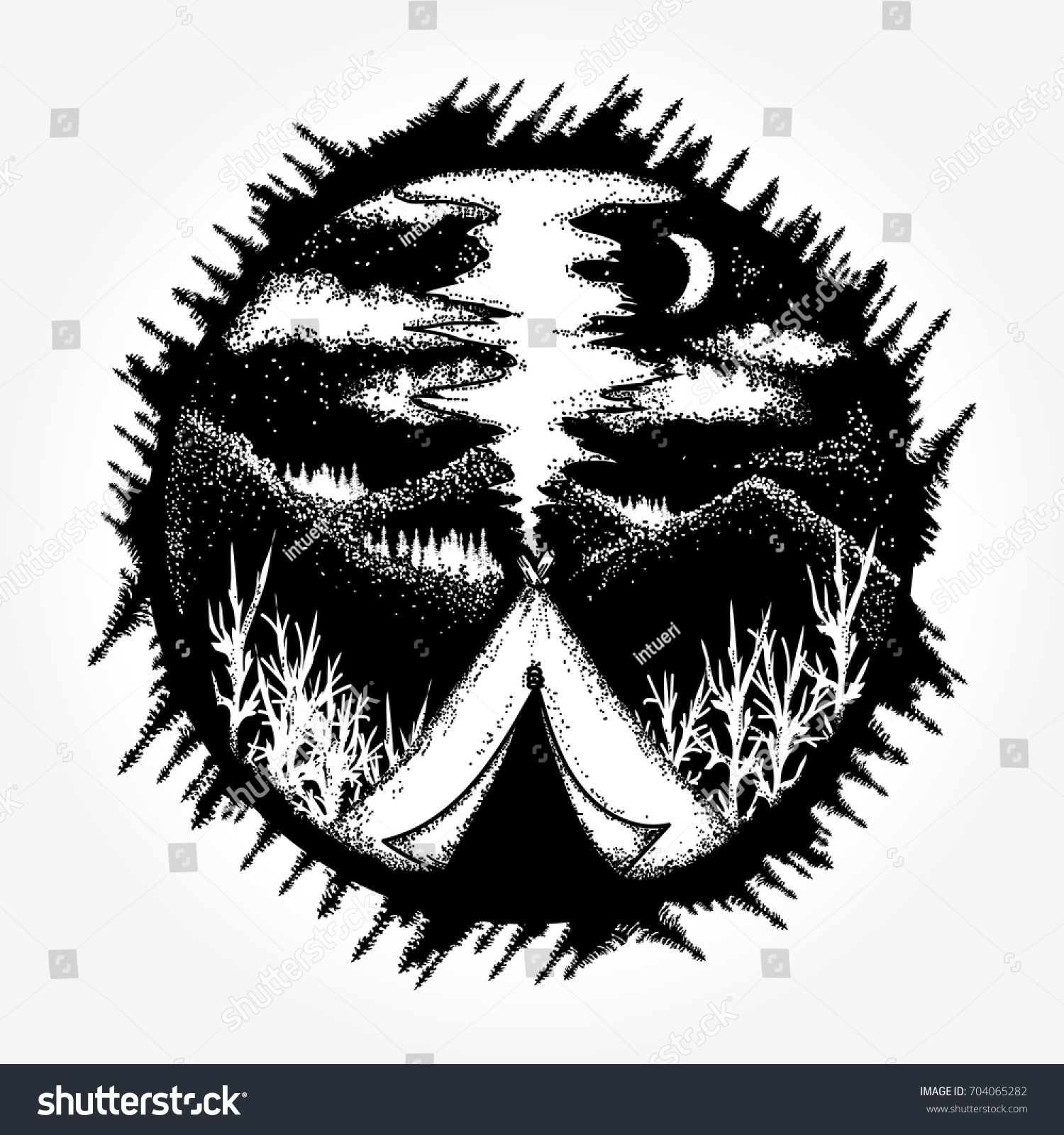 Travel symbol tourism extreme sports outdoor stock vector travel symbol tourism extreme sports outdoor camping in the mountains moon night biocorpaavc Images