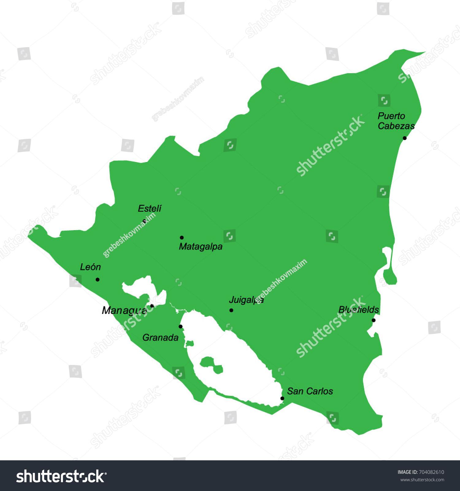Map Nicaragua Main Cities Stock Vector 704082610 Shutterstock