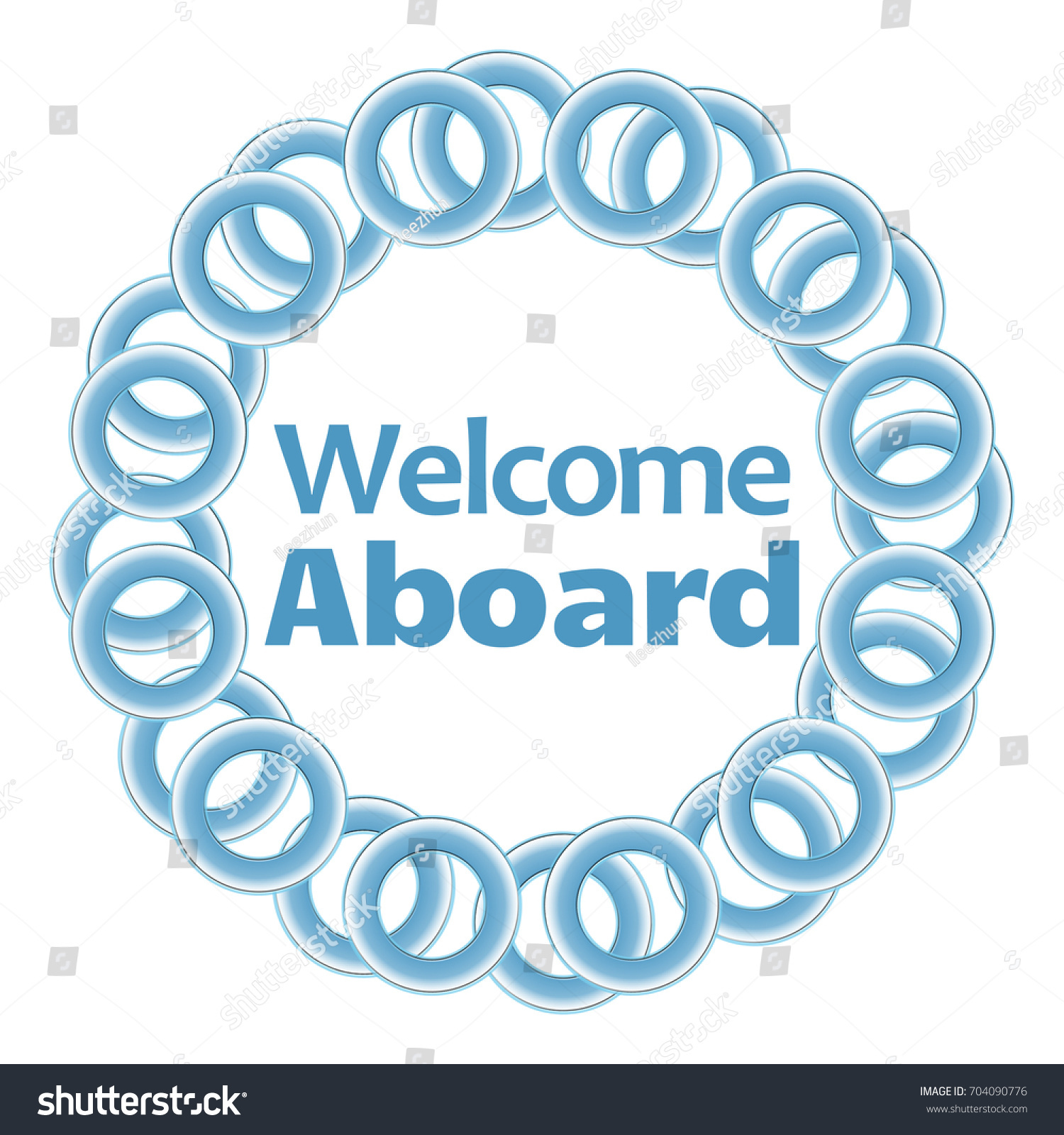 Welcome Aboard Text Inside Blue Rings Stock Illustration 704090776