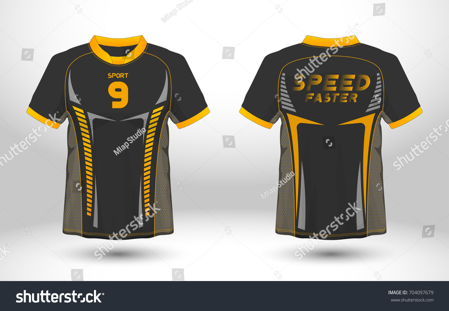1dd70afb4 Black and yellow layout football sport t-shirt design. Template front, back  view