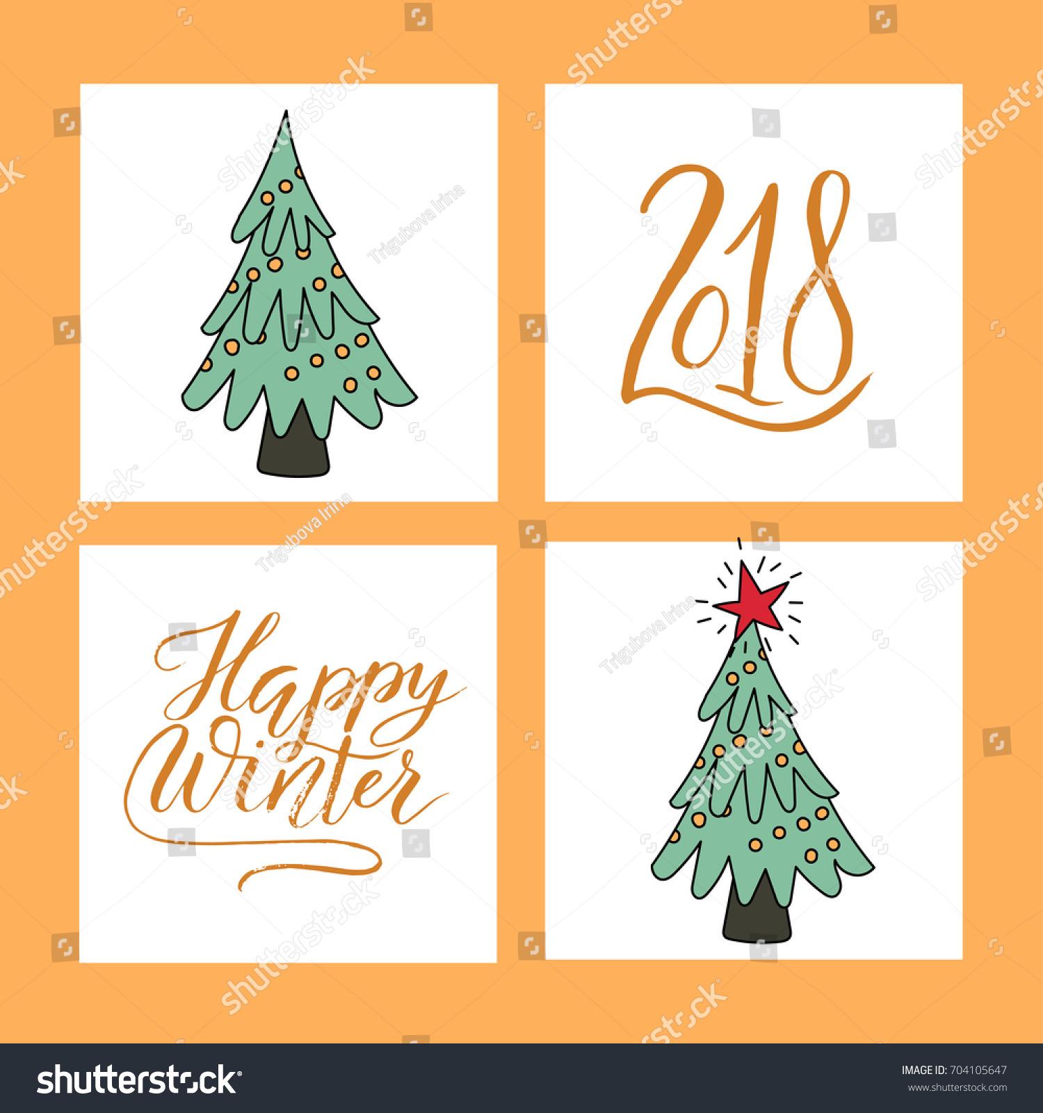 Vector Christmas Card Set Christmas Trees Stock Vector (Royalty Free ...