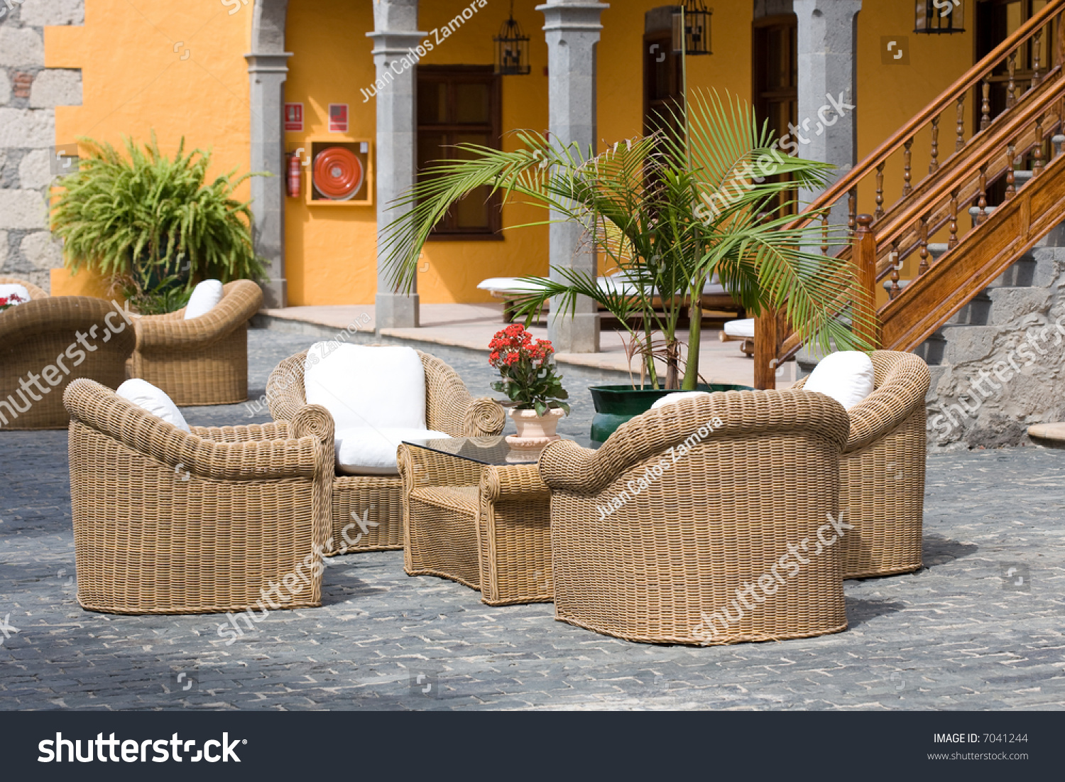 Luxury outdoor furniture typical patio stock photo 7041244 for Outdoor furniture yangon