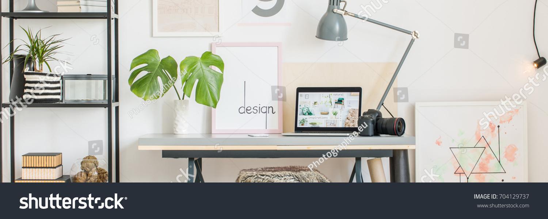 Interior Design Creative Home Office White Stock Photo (Royalty Free ...
