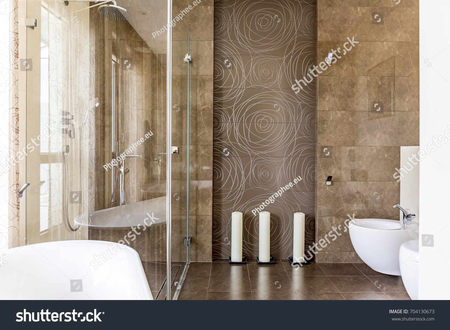 Fancy Bathroom Brown Decorative Tiles Abstract Stock Photo (Royalty ...