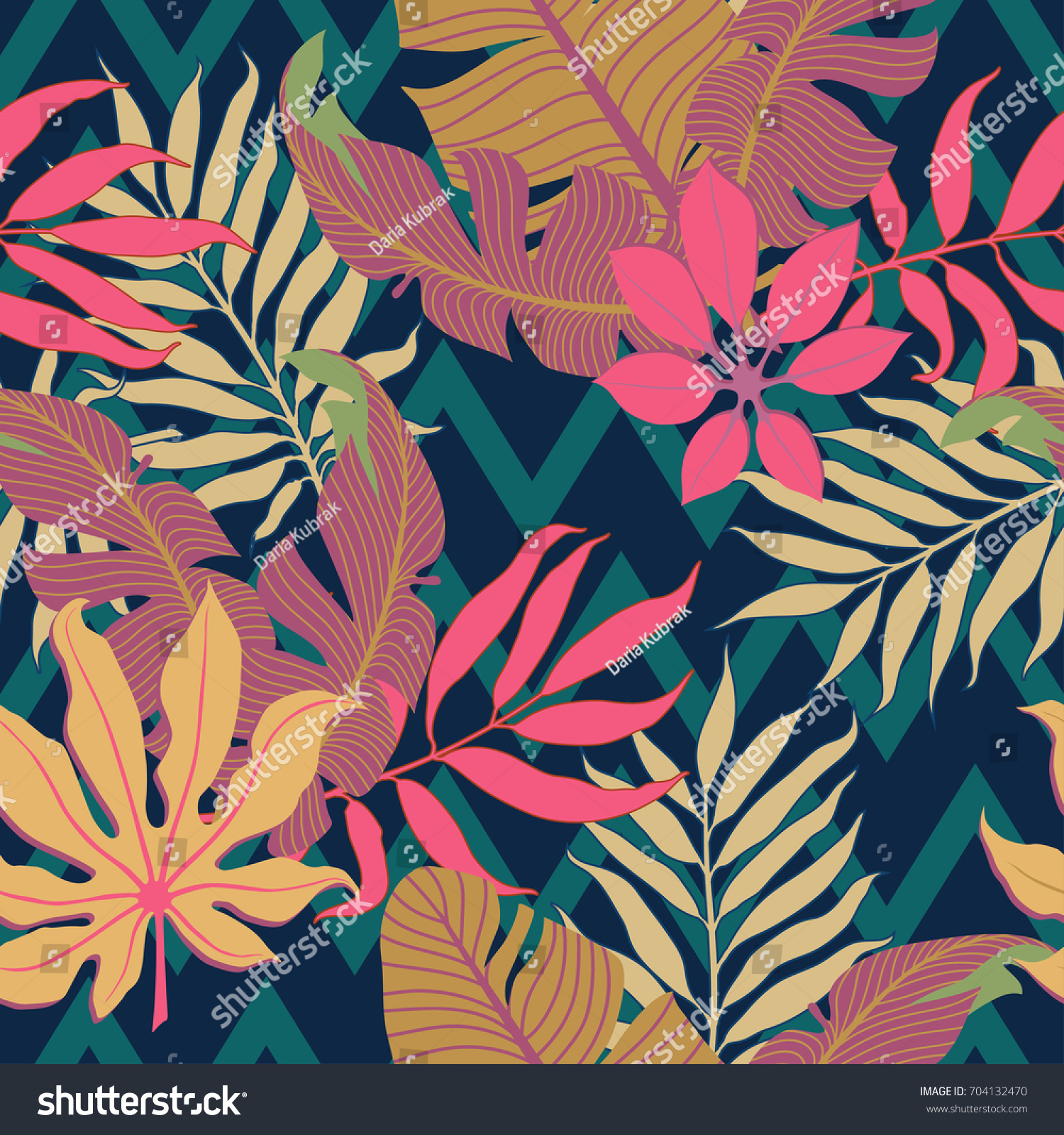 Summer Exotic Floral Tropical Palm Leaves Stock Vector Royalty