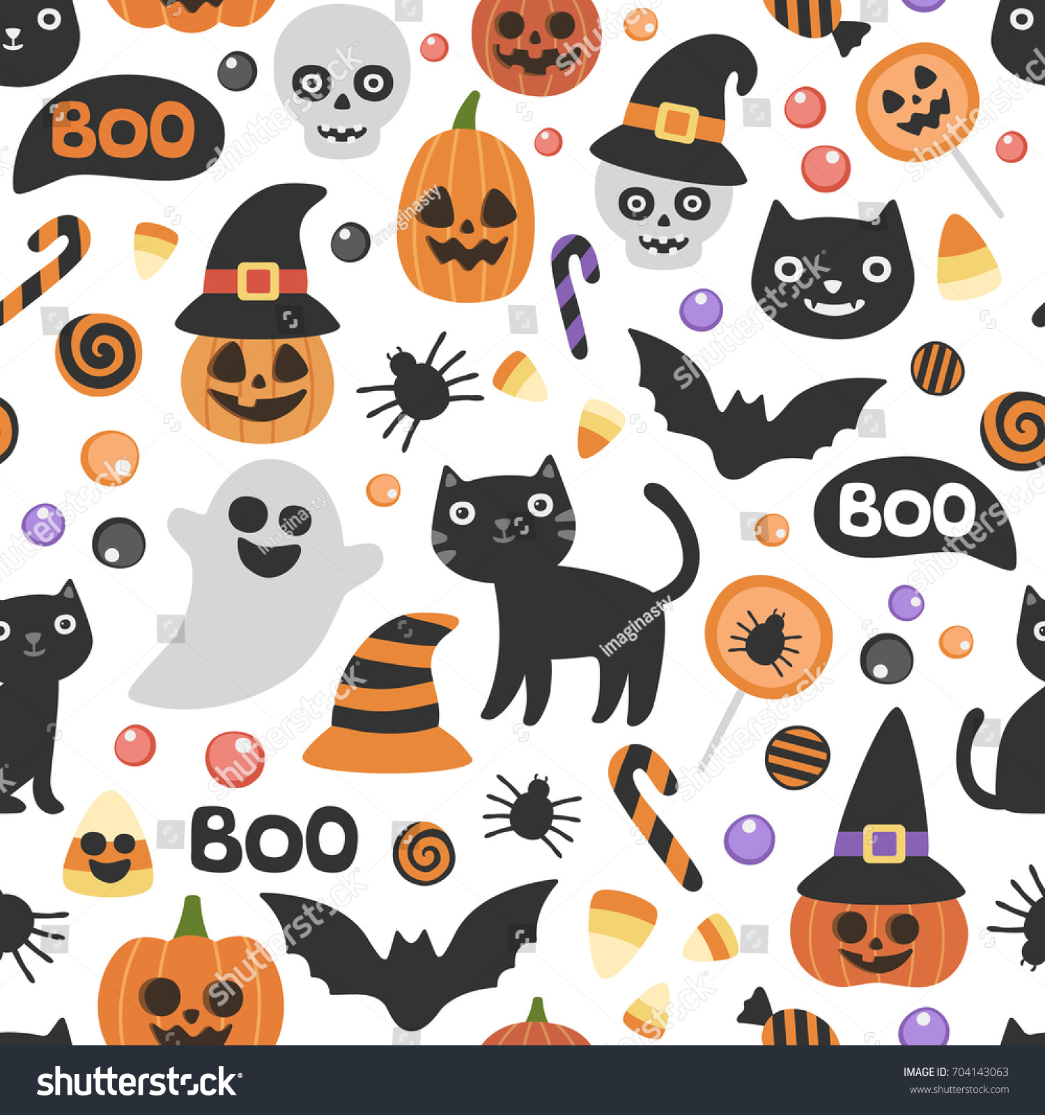 Vector Cute Seamless Halloween Pattern Smiling Stock Vector ...
