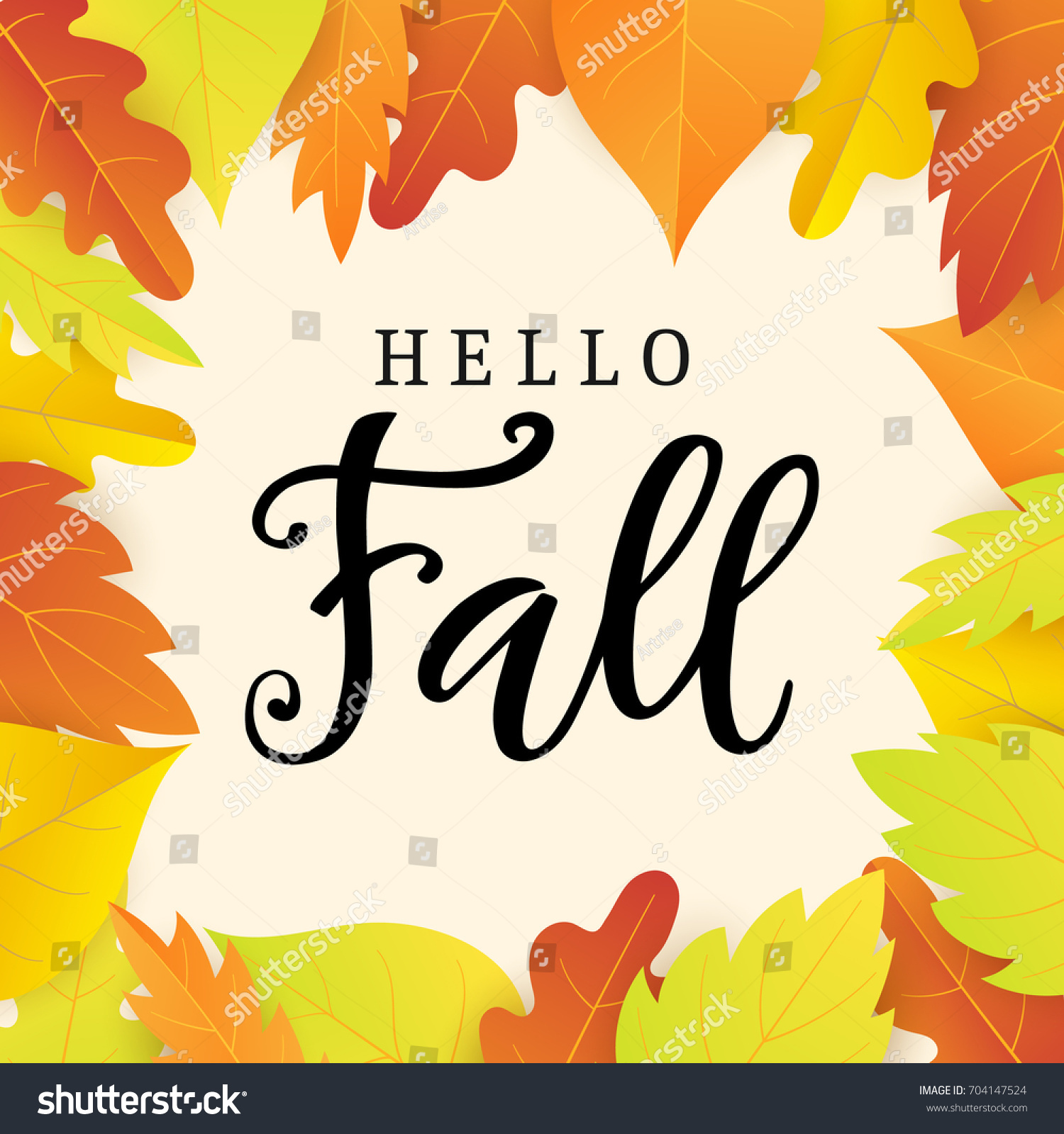 Awesome Hello Fall Banner Template With Bright Colorful Leaves. Autumn Seasonal  Calligraphy. Poster, Card