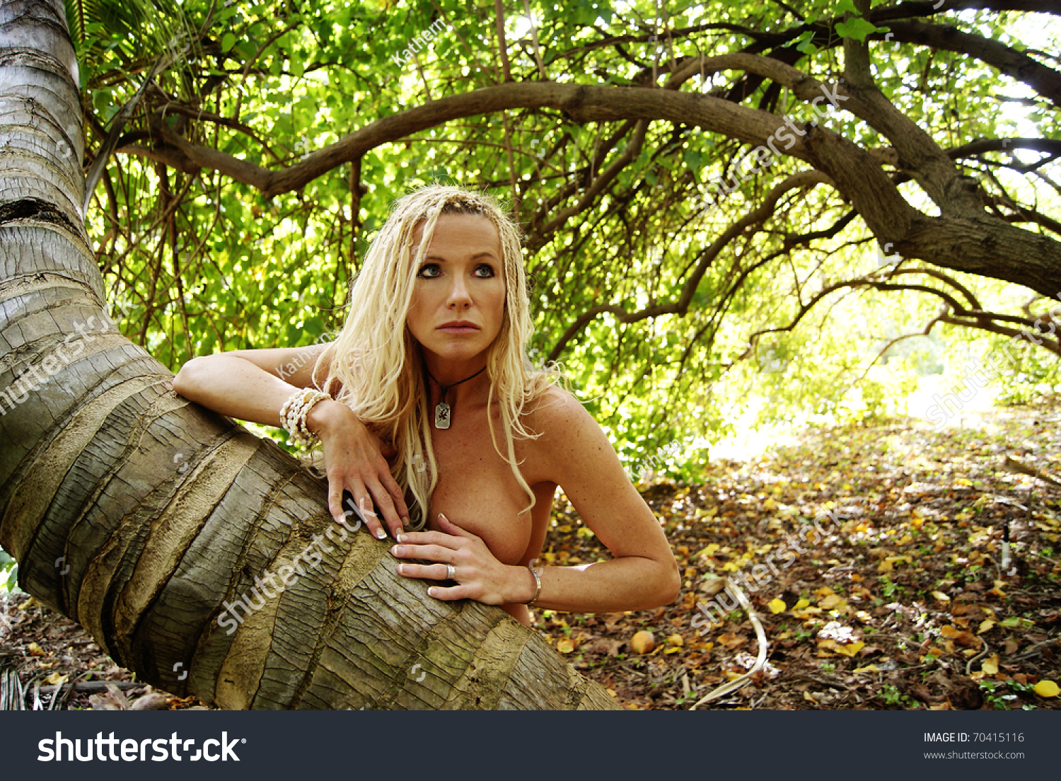 Pretty Blond Woman Braids Nude Forest Stock Photo 70415116 -8056