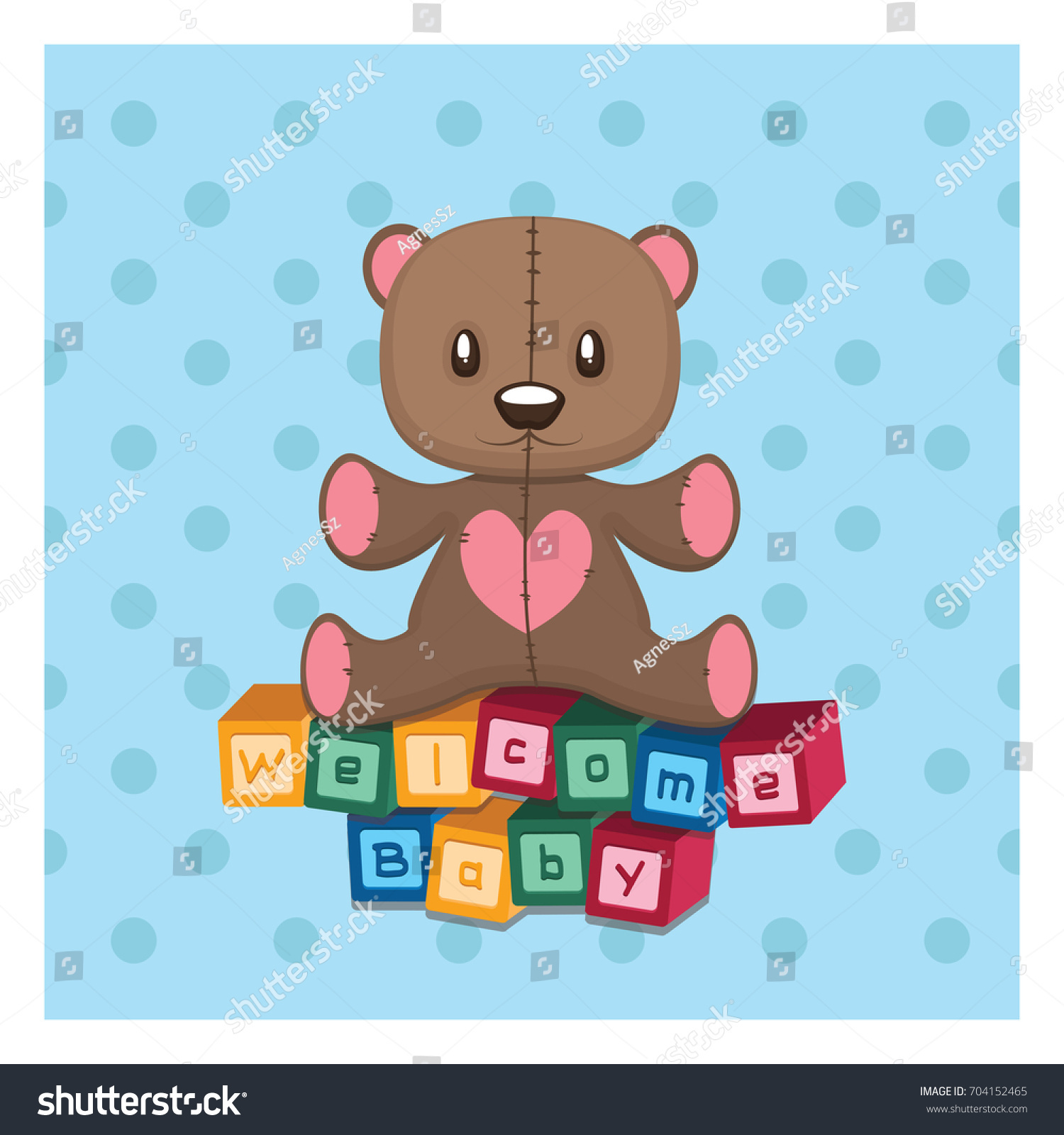 Wel e Baby Greeting Teddy Building Blocks Stock Vector