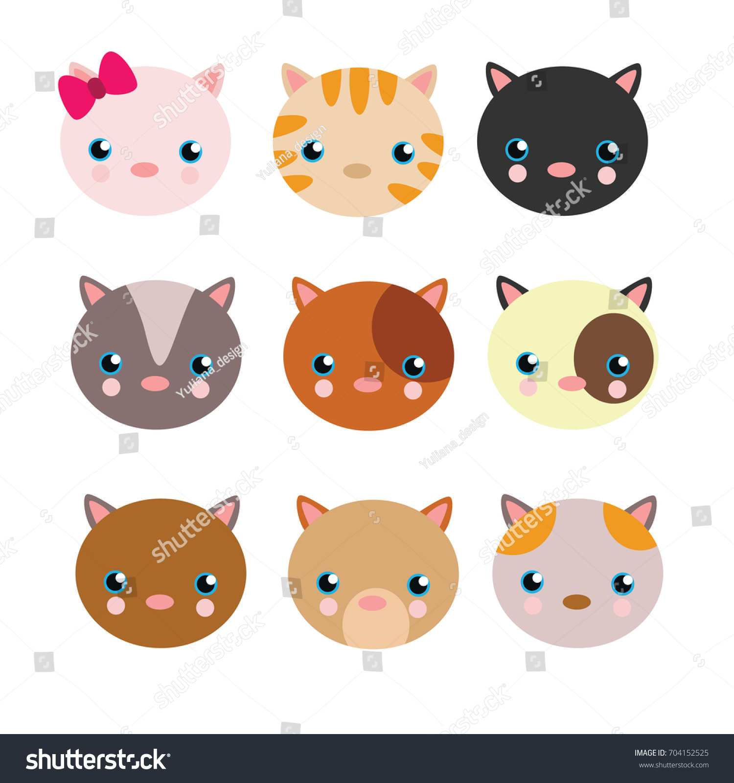 Variation Cute Kitten Head Face Cartoon Stock Vector