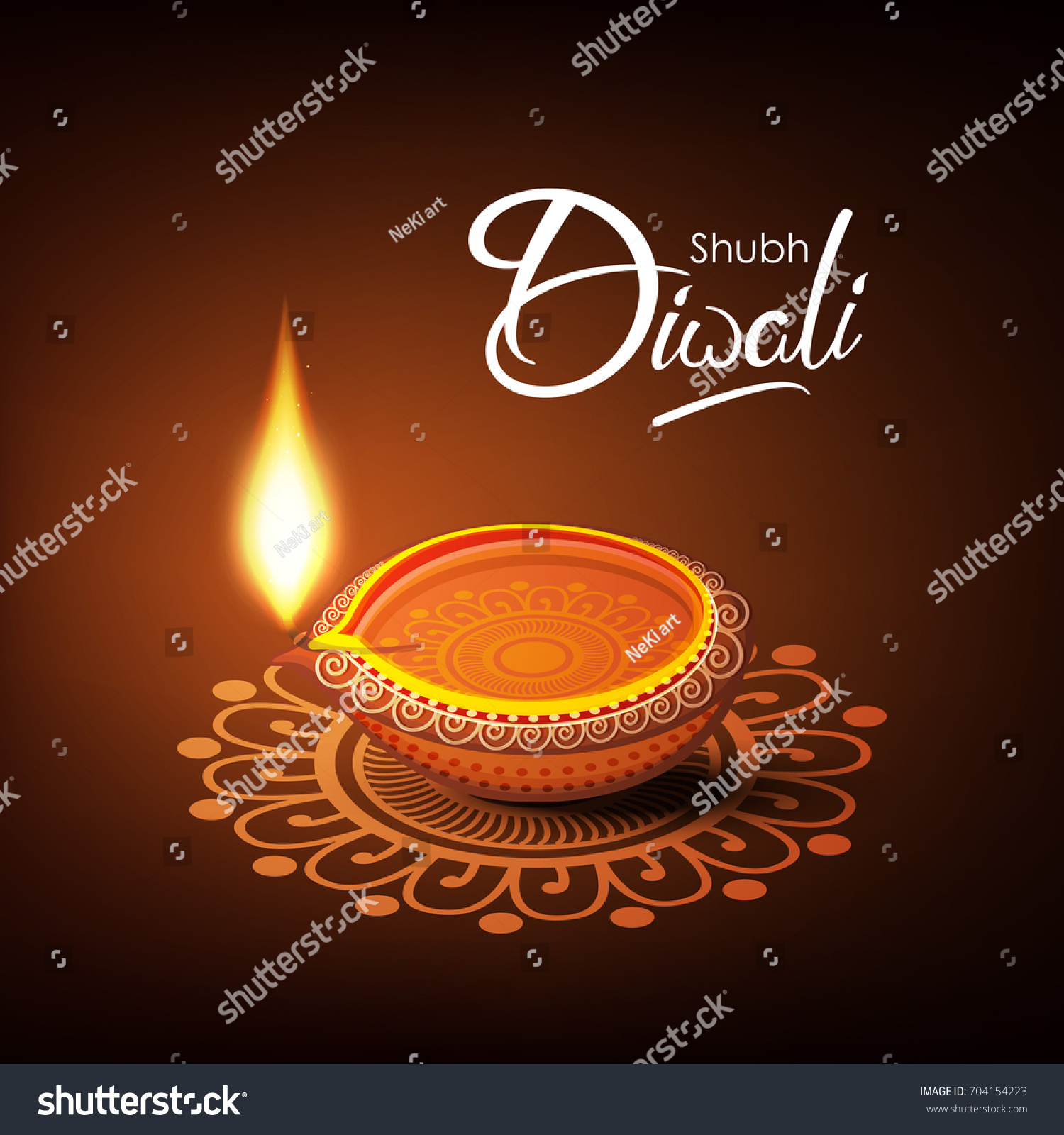 Beautiful Diwali Greeting Card Vector Illustration Stock Vector