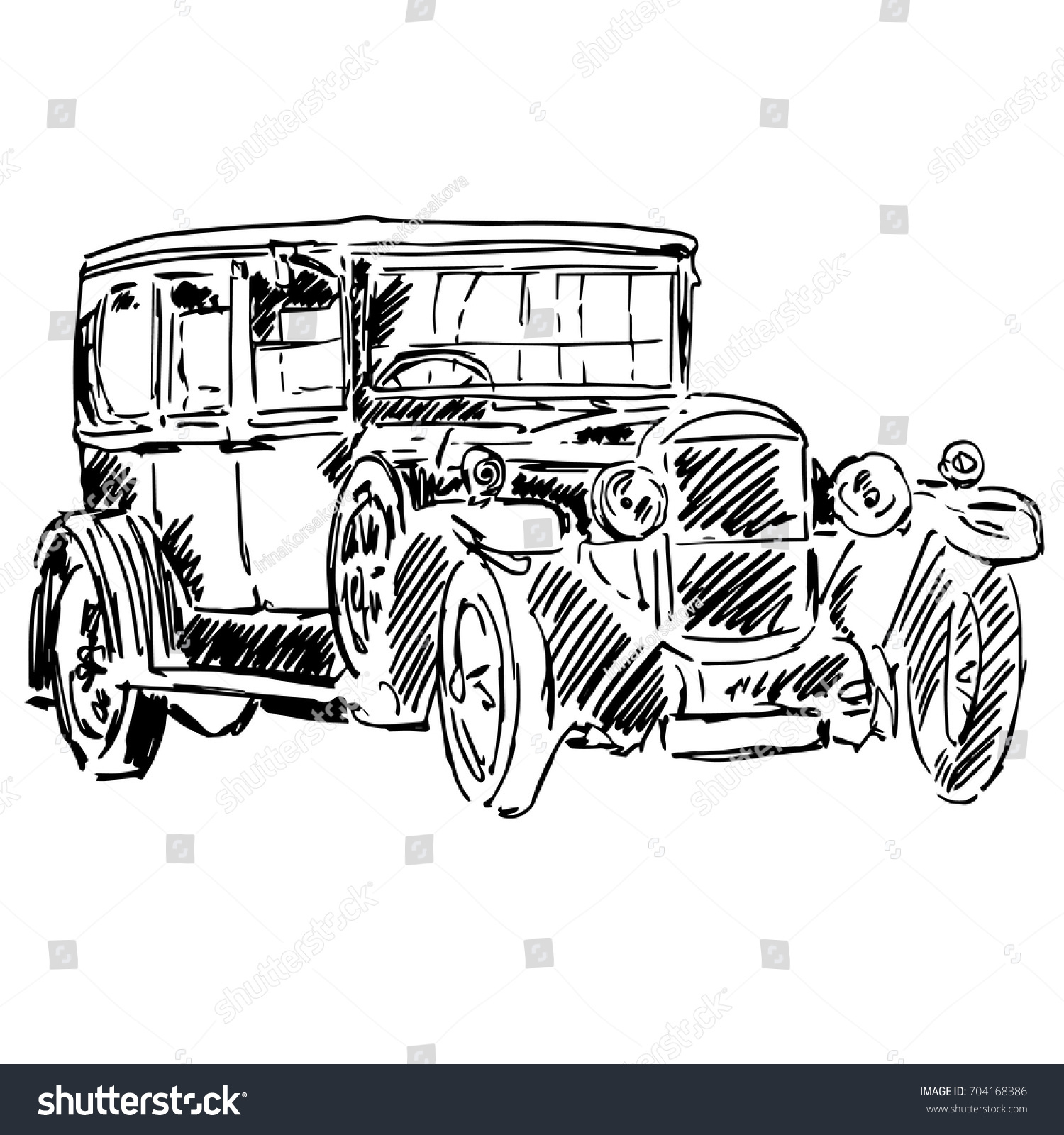 Old Black Classic Car Isolated On Stock Vector (2018) 704168386 ...
