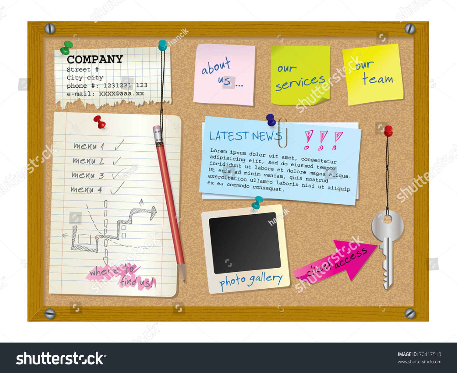 website design template cork board notes stock vector royalty free