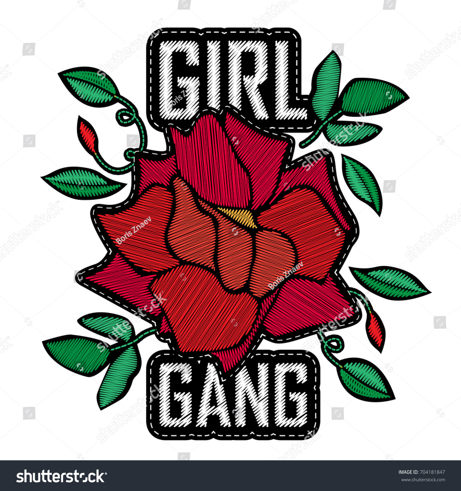 Girl Gang Fashion Badge Patch Embroidery Stock Vector 704181847 ...