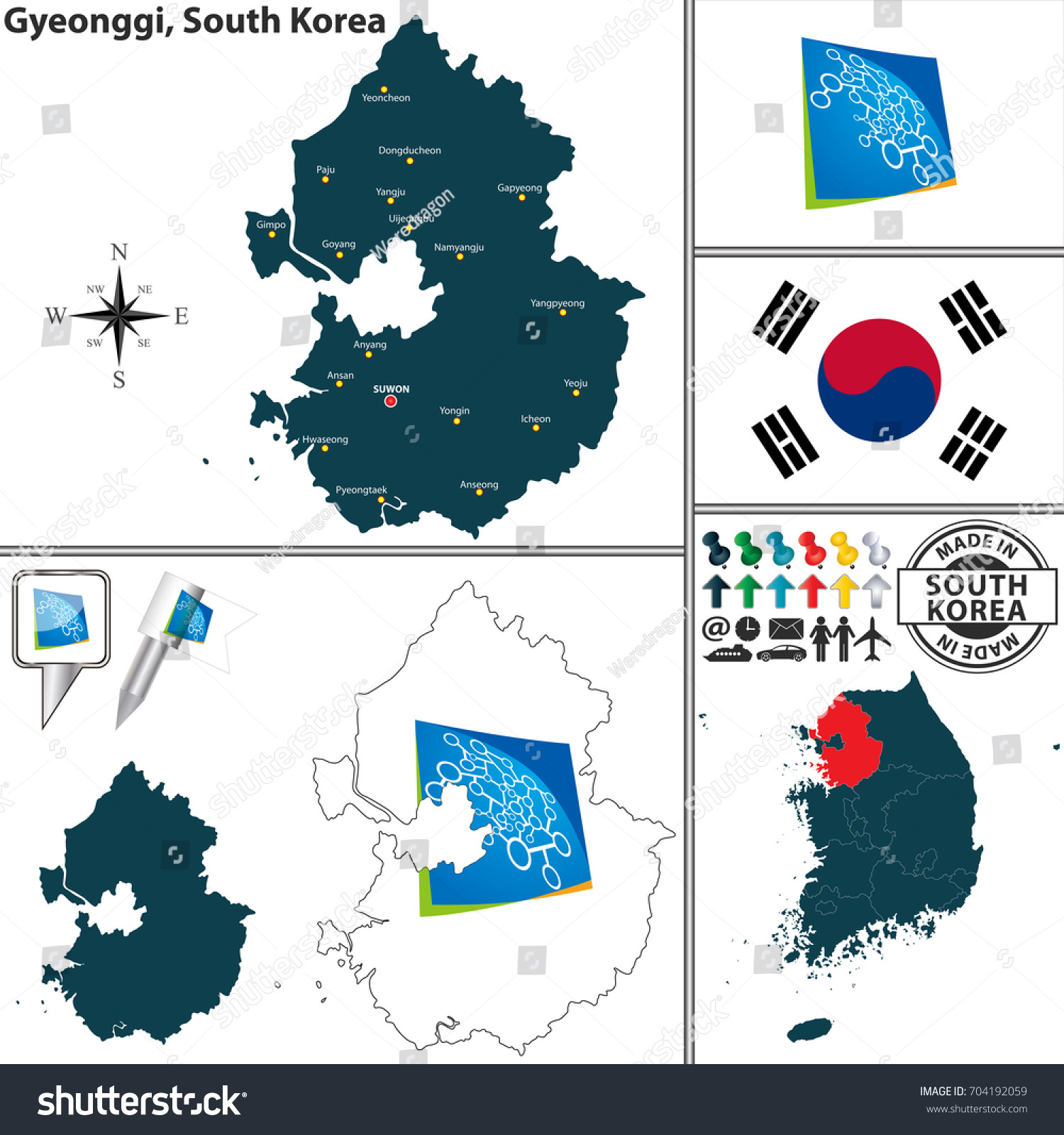 Vector Map Province Gyeonggi Flags Location Stock Vector 704192059