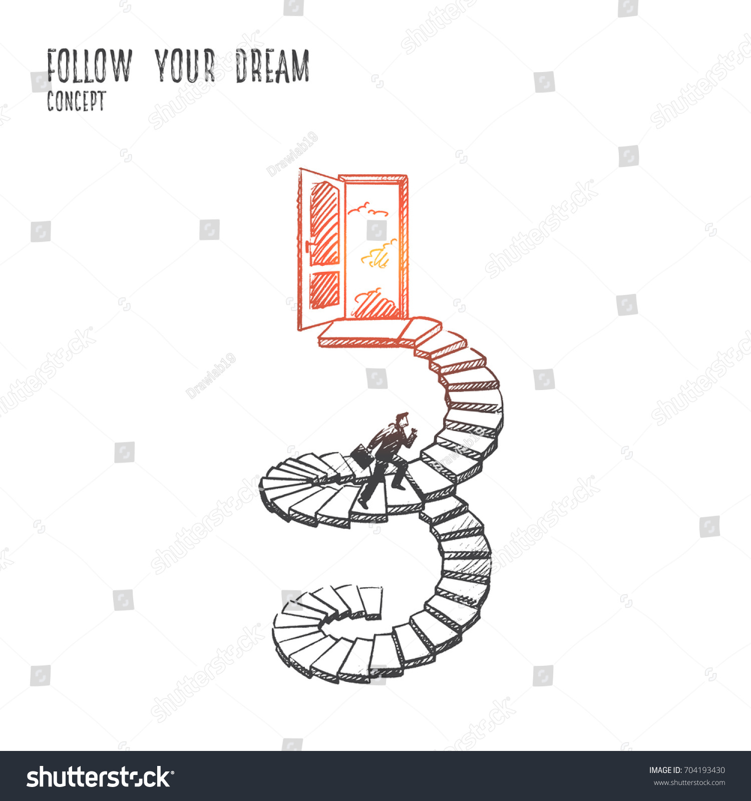 Follow your dream concept hand drawn stock vector 704193430 follow your dream concept hand drawn man in suit climbs the stairs open door biocorpaavc Choice Image