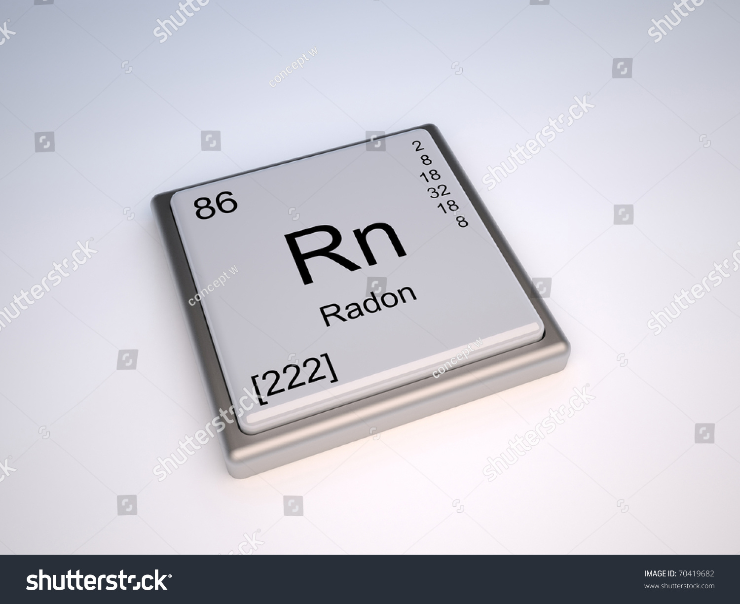 Radon Chemical Element Periodic Table Symbol Stock Illustration