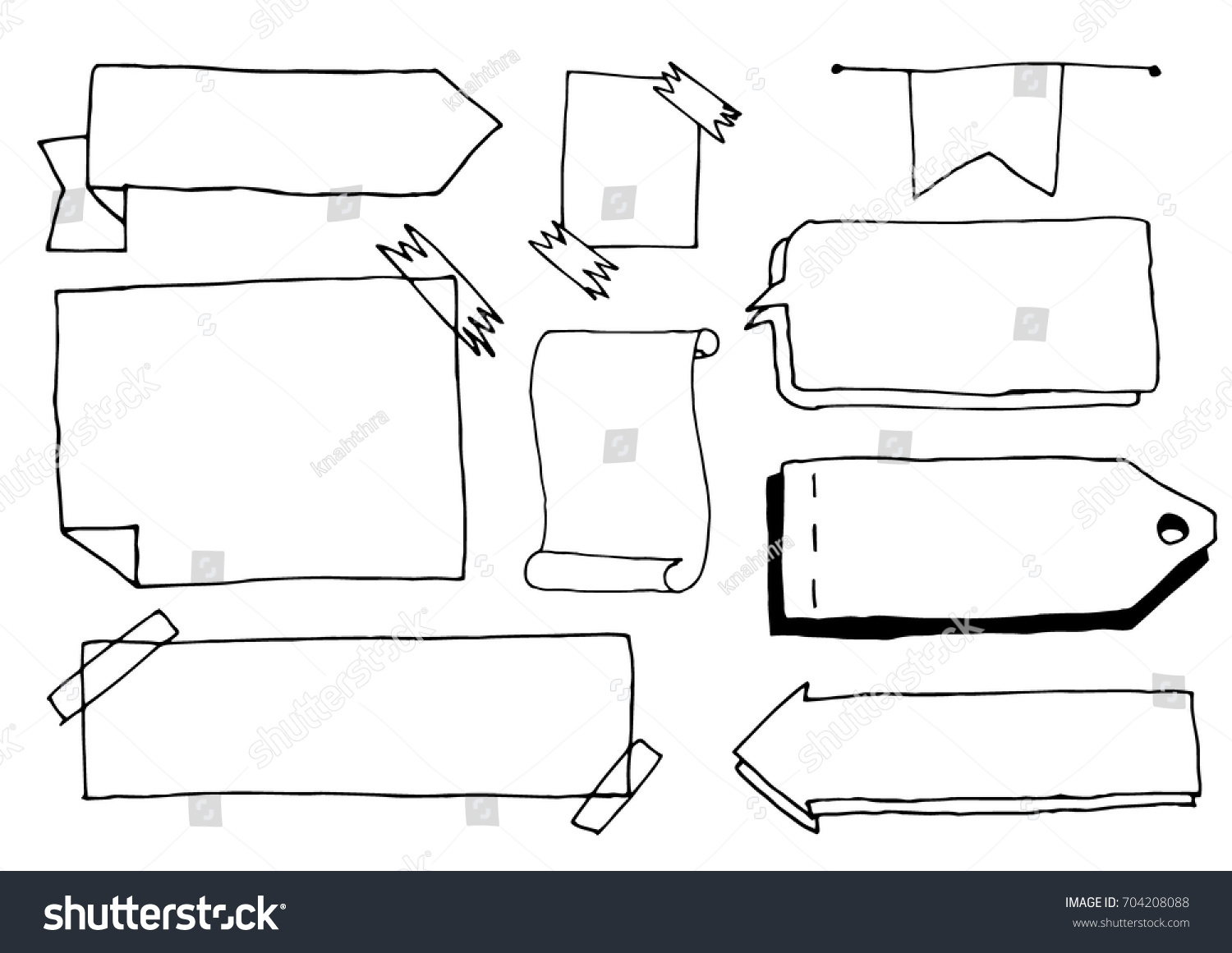 Set Cute Hand Drawn Doodle Banners Stock Vector 704208088 ...