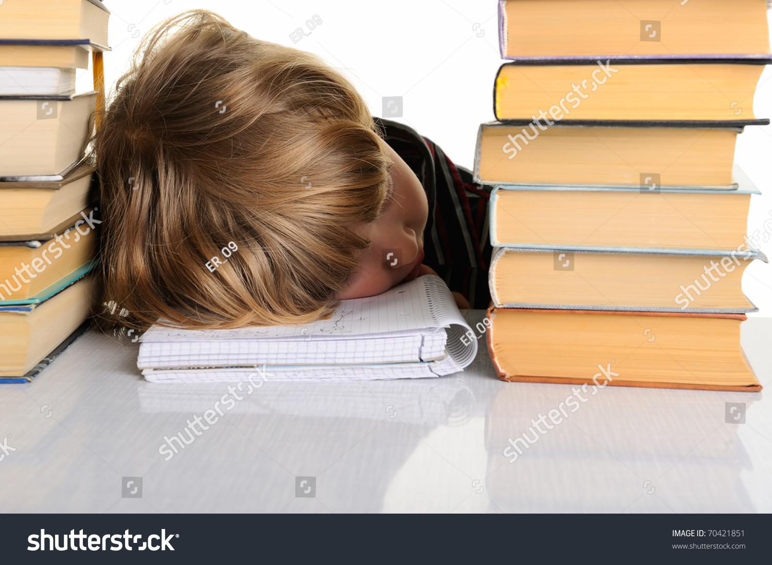 Teenager Doing Homework Fed Up   Depressed Stock Photo  Royalty