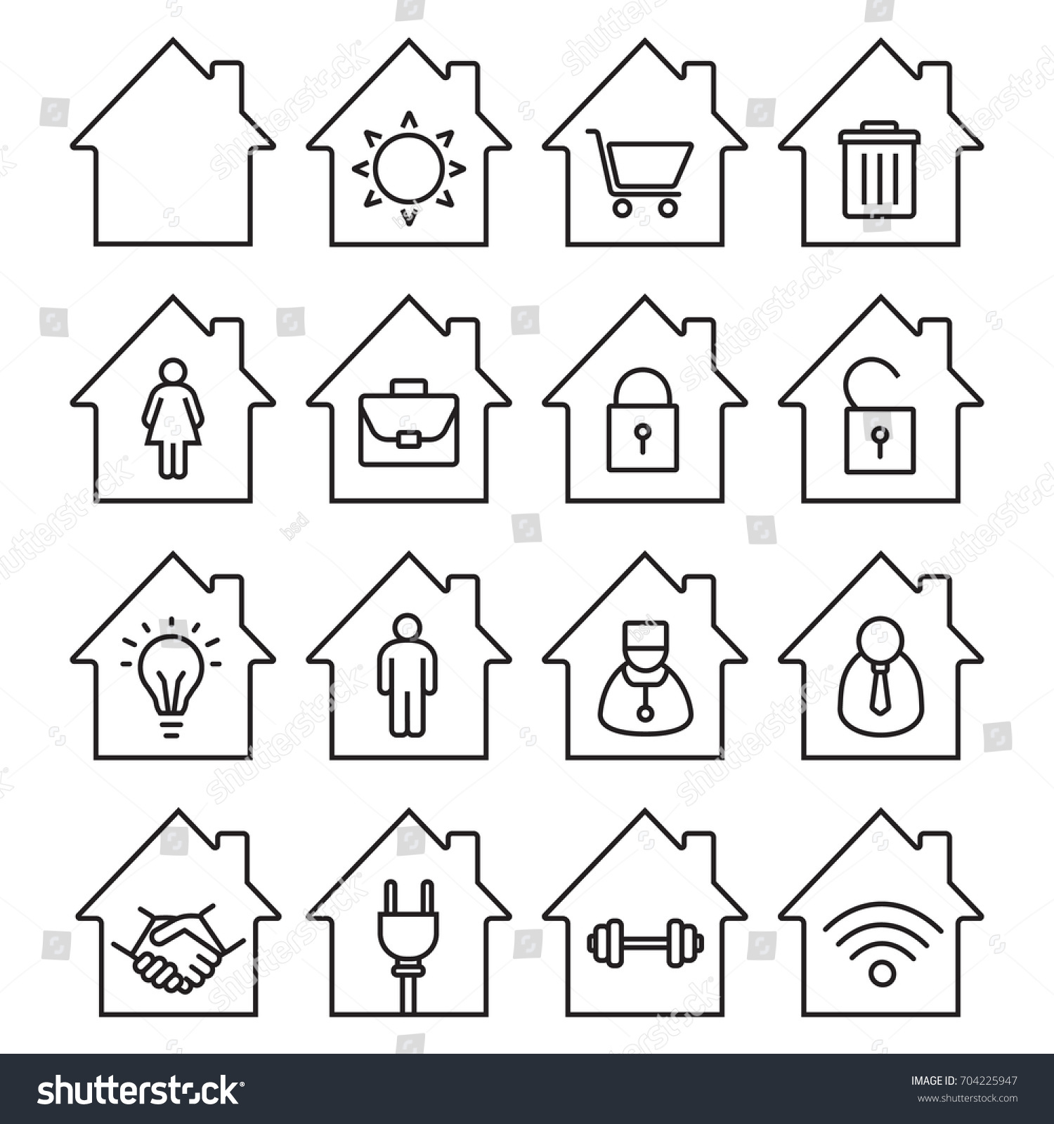 Houses Linear Icons Set Thin Line Stock Vector HD (Royalty Free ...