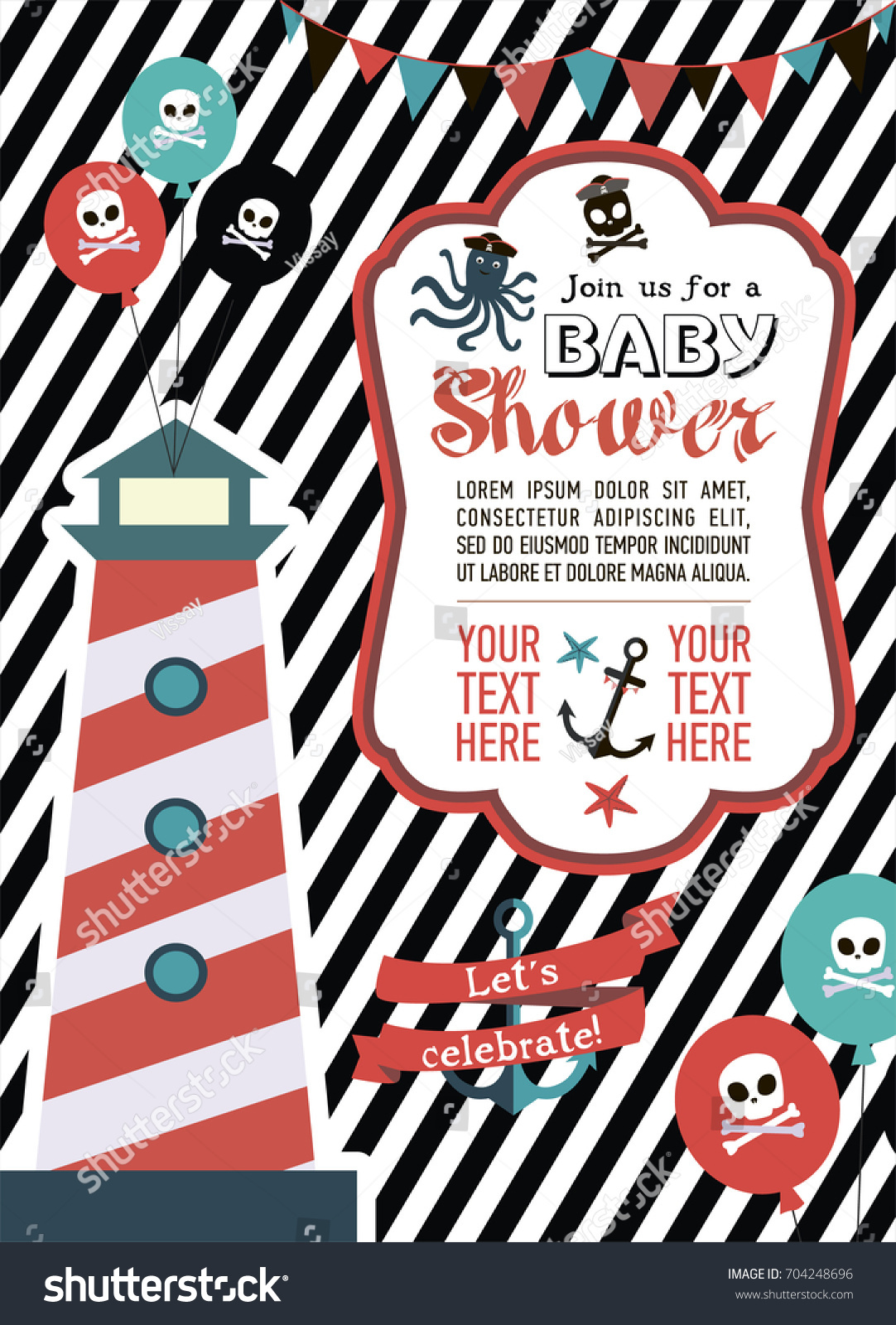 Baby Shower Invitation Card Pirate Theme Stock Vector 704248696 ...