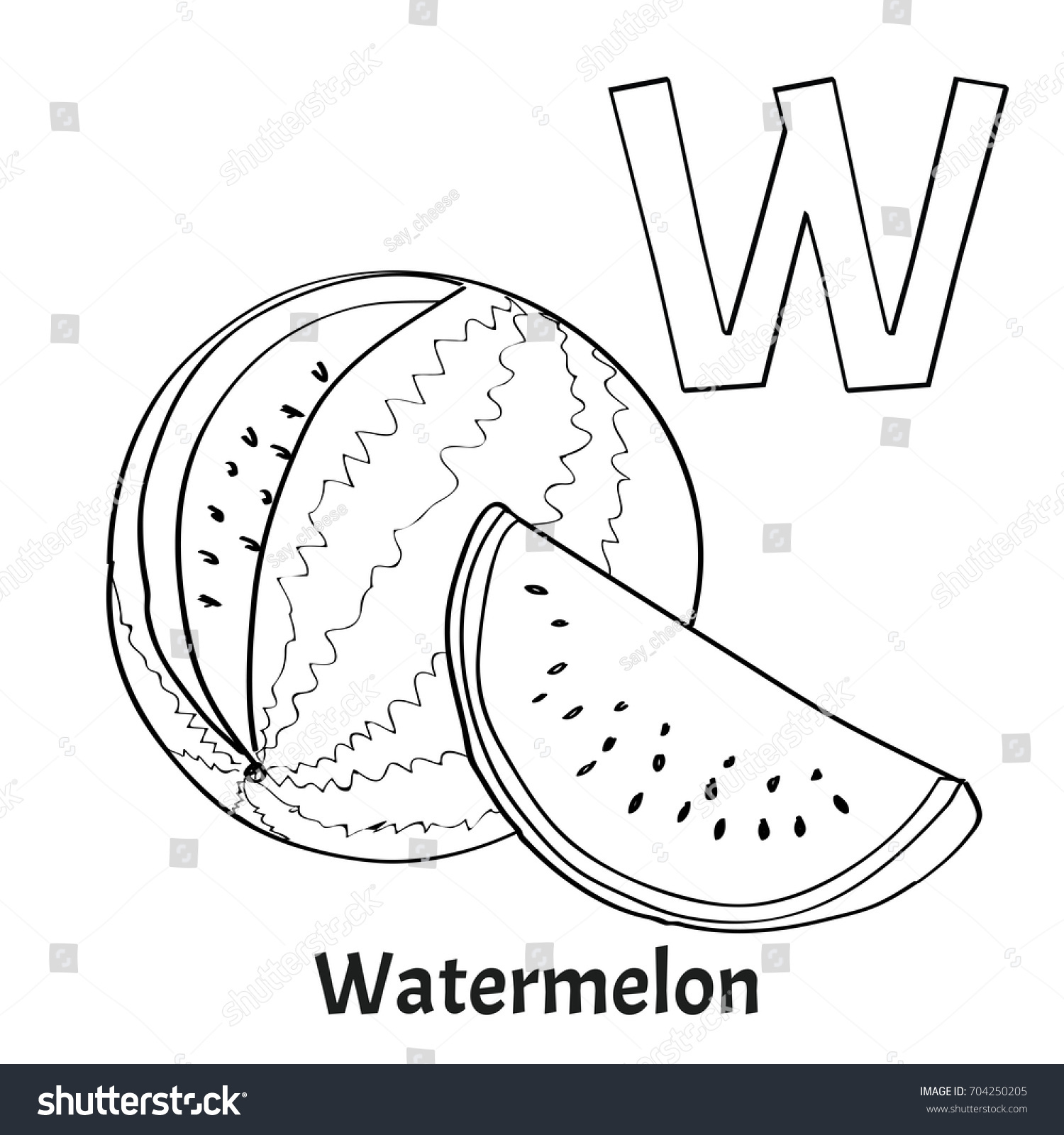 Free letter w coloring page - Alphabet Letter W Coloring Page Watermelon