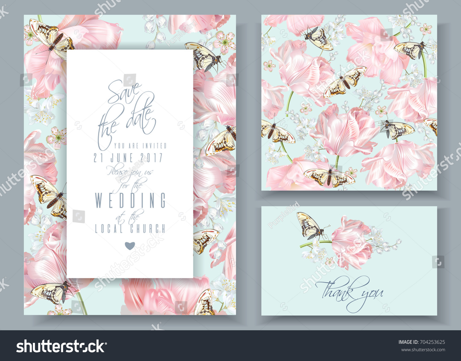 Vector Wedding Invitation Cards Seamless Pattern Stock Vector ...