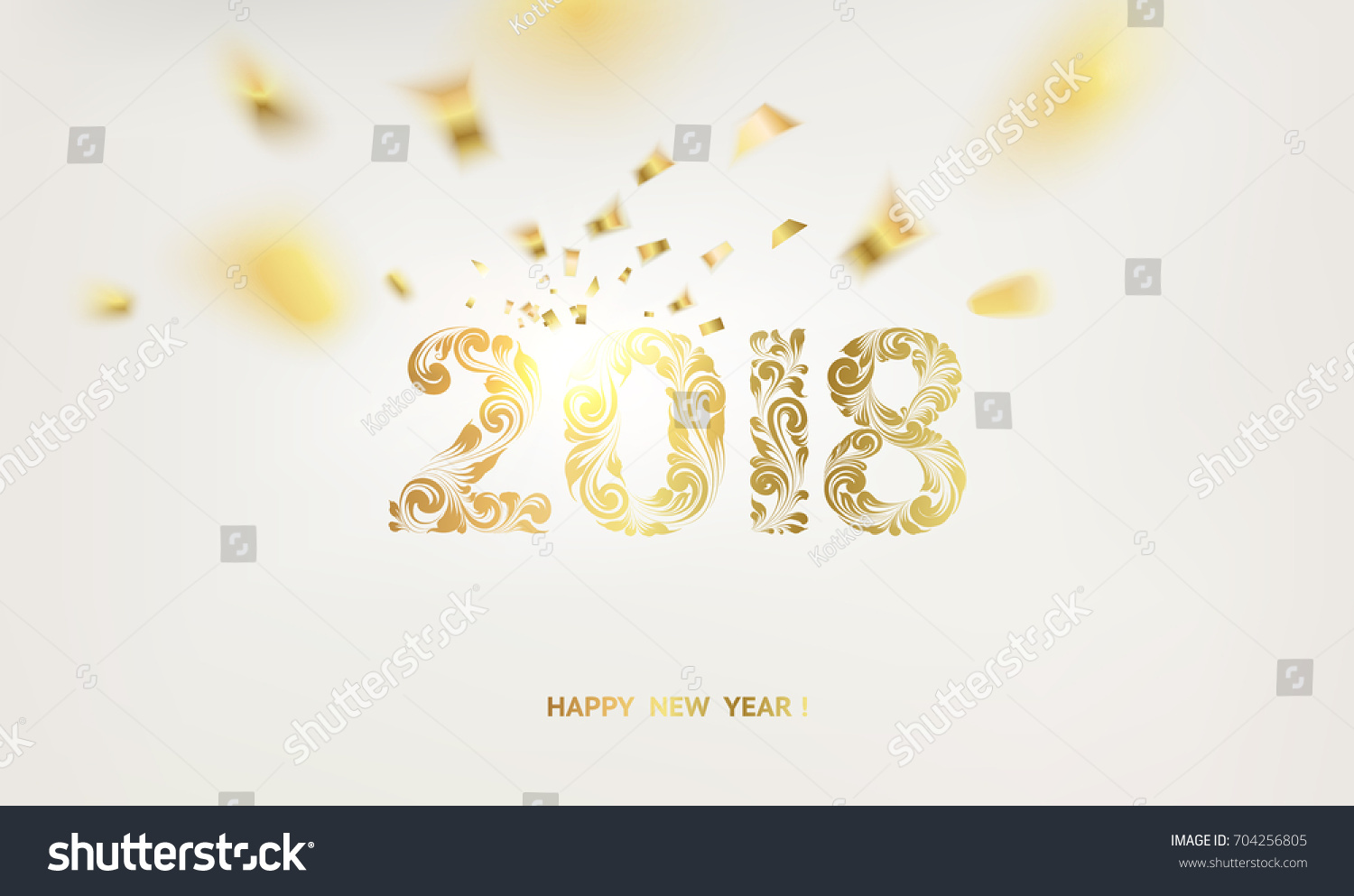happy new year card over gray background with golden confetti happy new year 2018