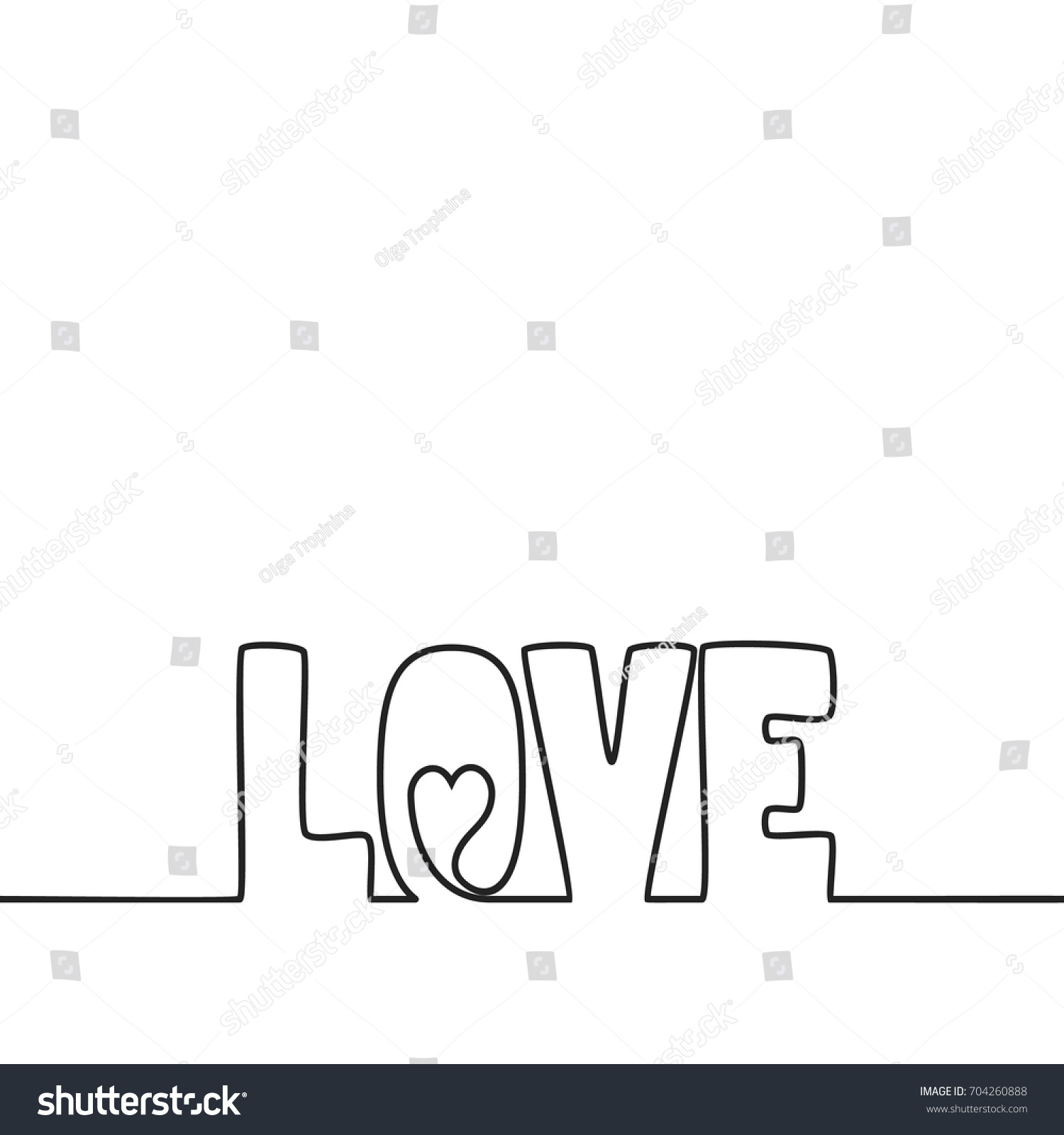 Line Drawing Love : Continuous line drawing love text heart stock vector