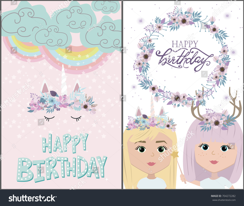 Magic Happy Birthday Greeting Cards Unicorn Stock Vector 704272282