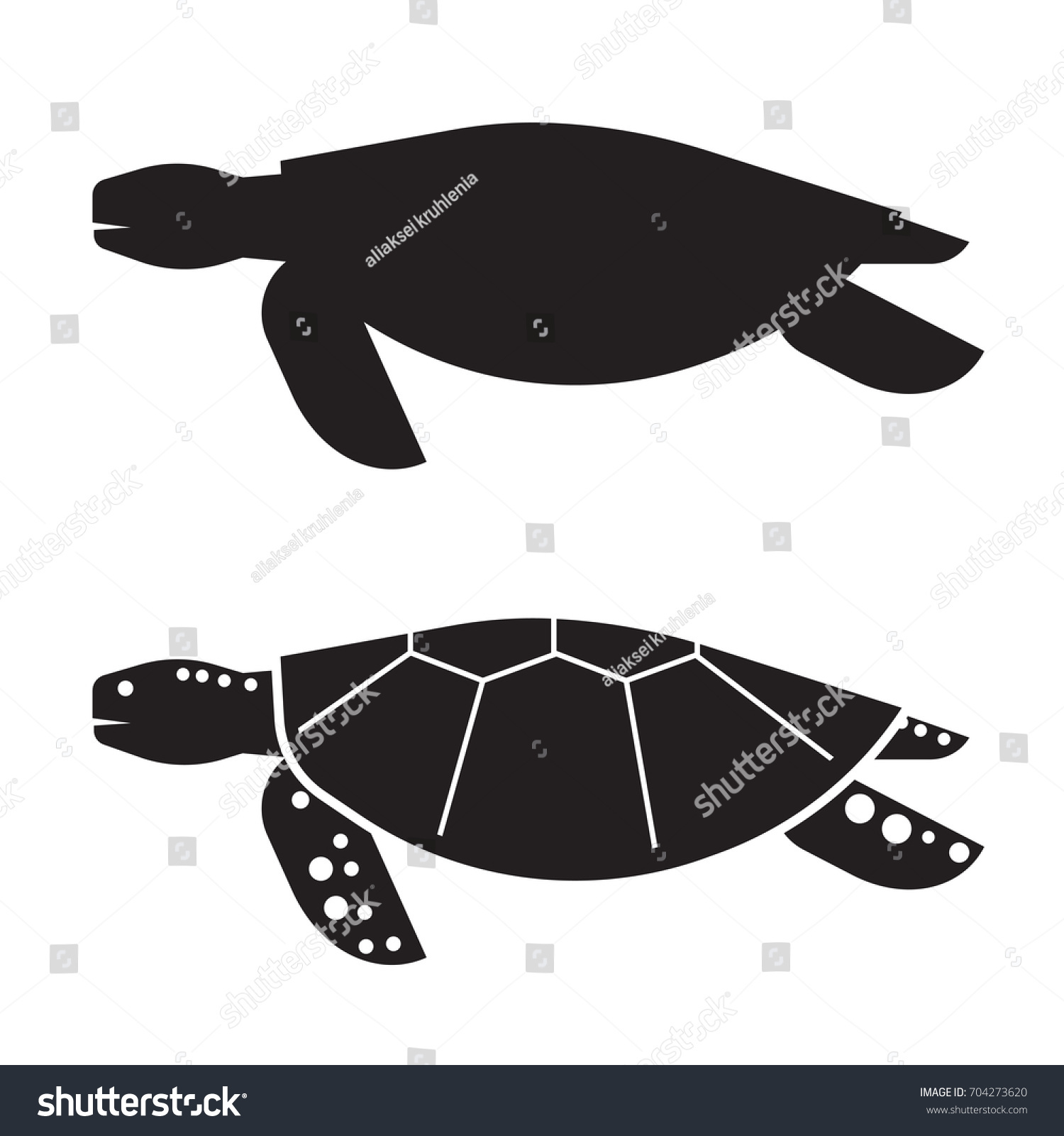 Sea Turtle Vector Illustration Outline Design Stock Vector Royalty