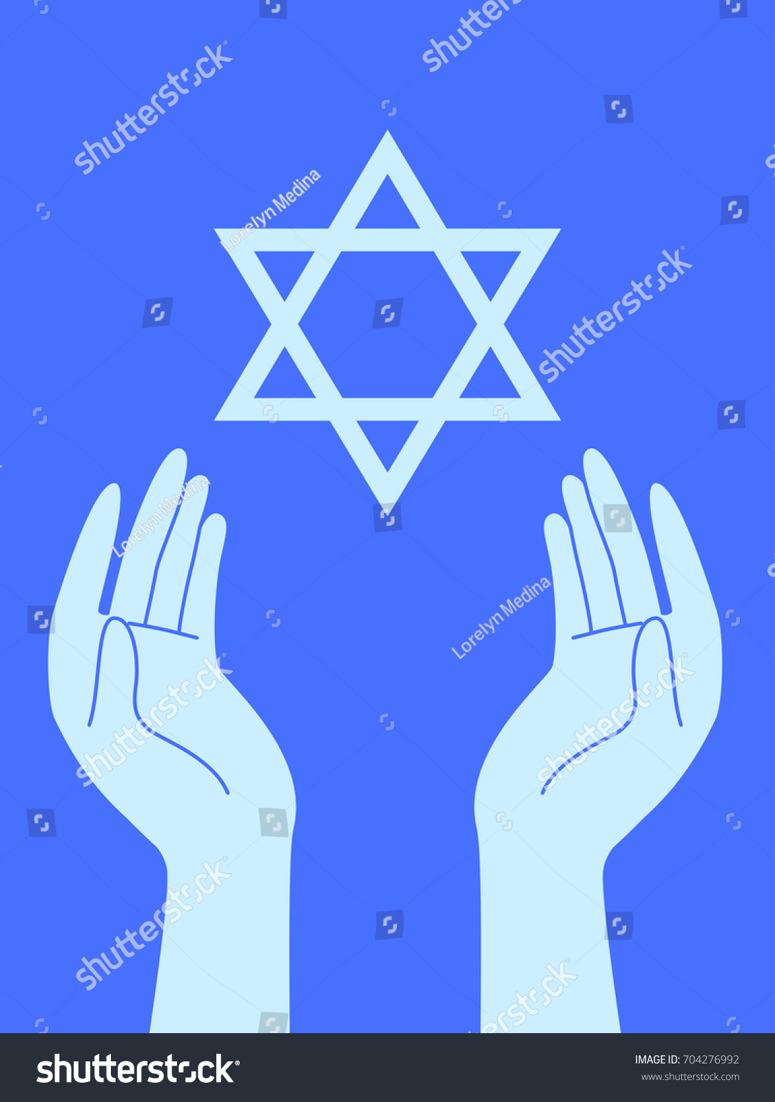 Illustration Prayer Hands Star David Stock Vector Royalty Free