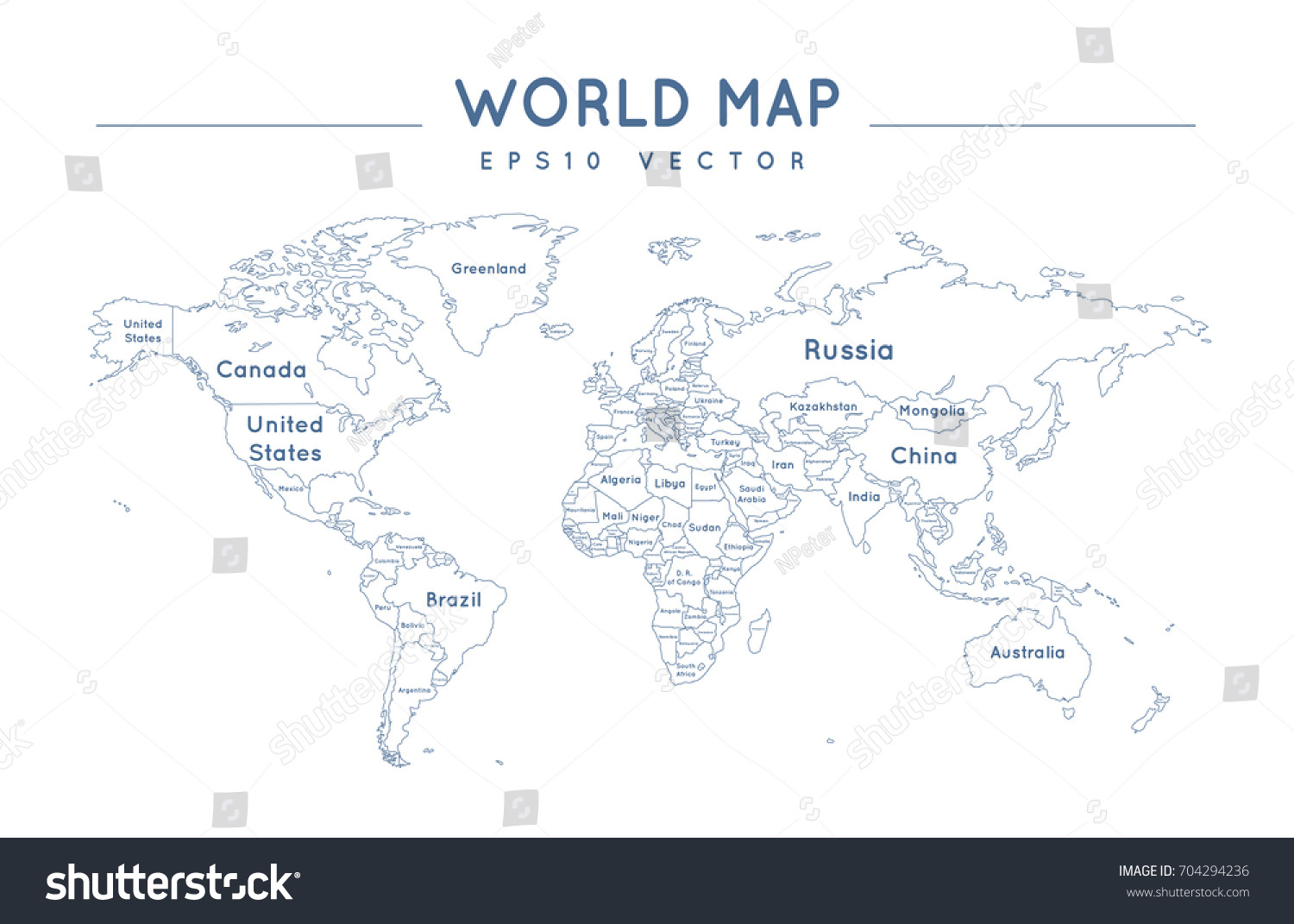 Political world map name borders countries stock vector 704294236 political world map with the name and borders of the countries gumiabroncs Images