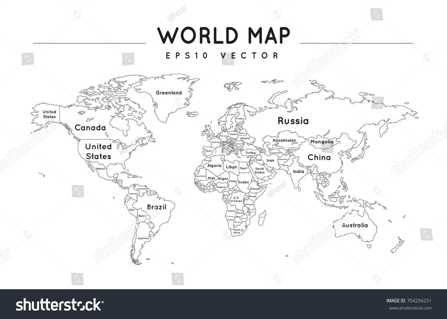 Political world map name borders countries stock vector 2018 political world map with the name and borders of the countries gumiabroncs Image collections