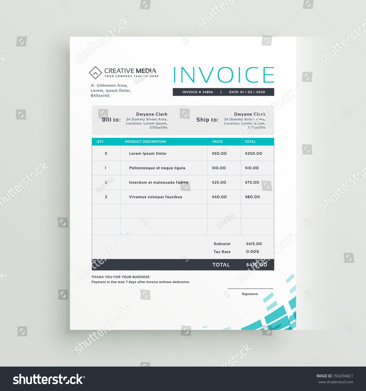 Modern Invoice Template Vector Design Stock Vector - Modern invoice template