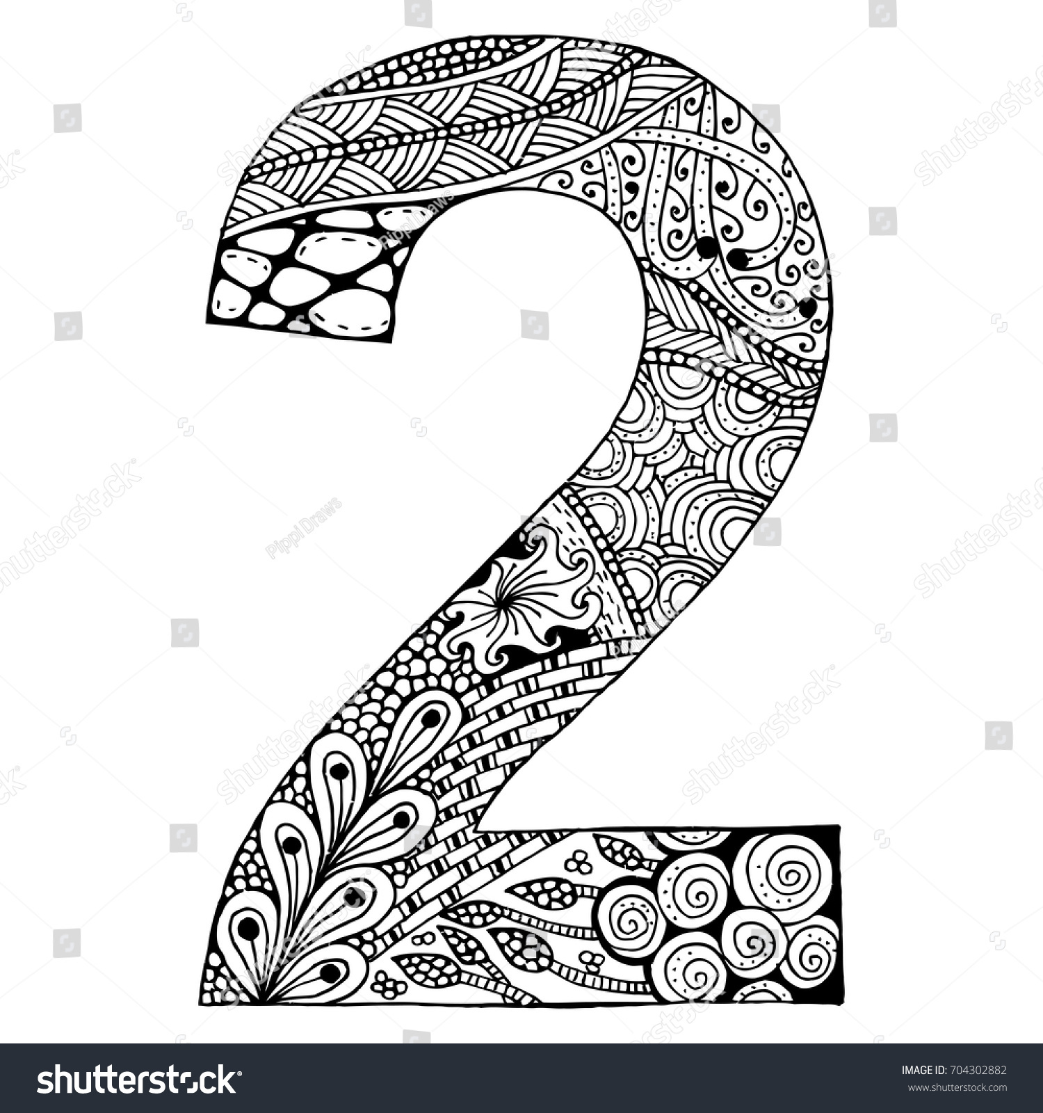 Zentangle Stylized Alphabetnumber 2 Doodle Style Stock