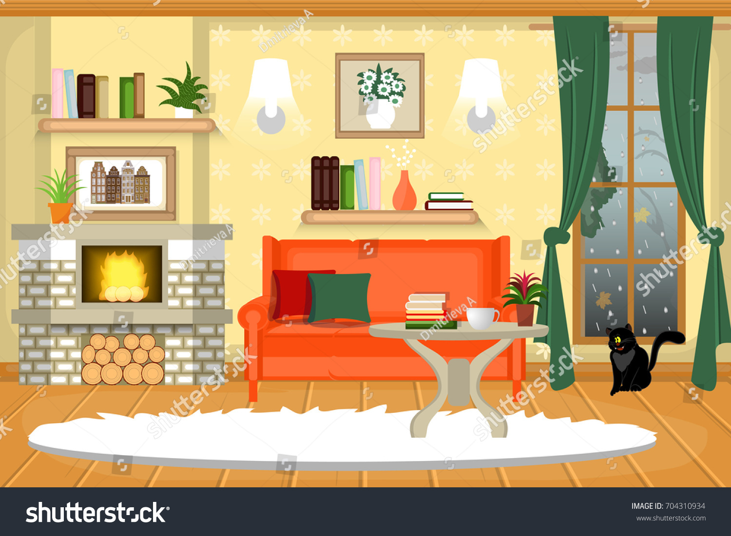 The Interior Of Living Room Cozy With Furniture A Fireplace