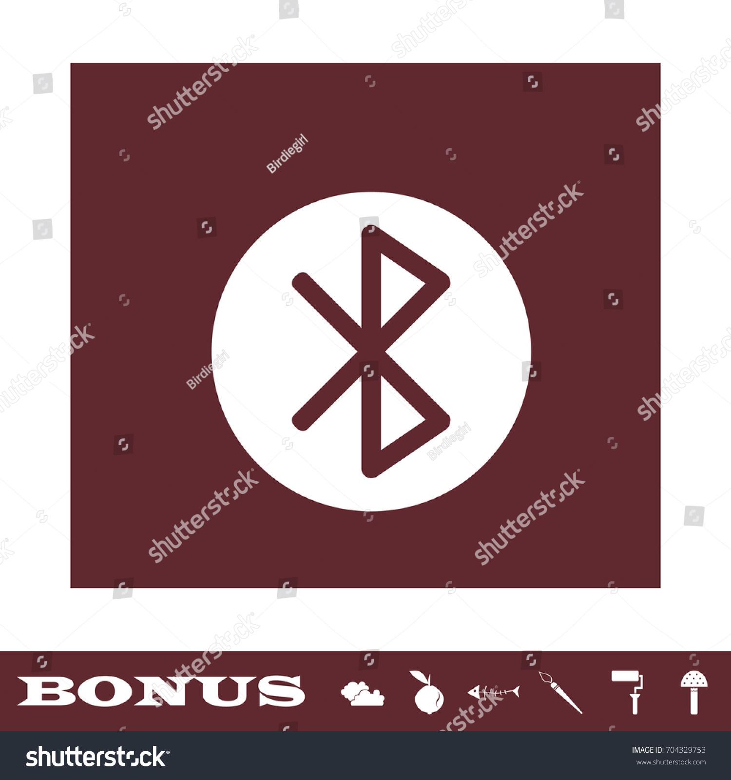 Bluetooth Icon Flat Simple White Pictogram Stock Illustration