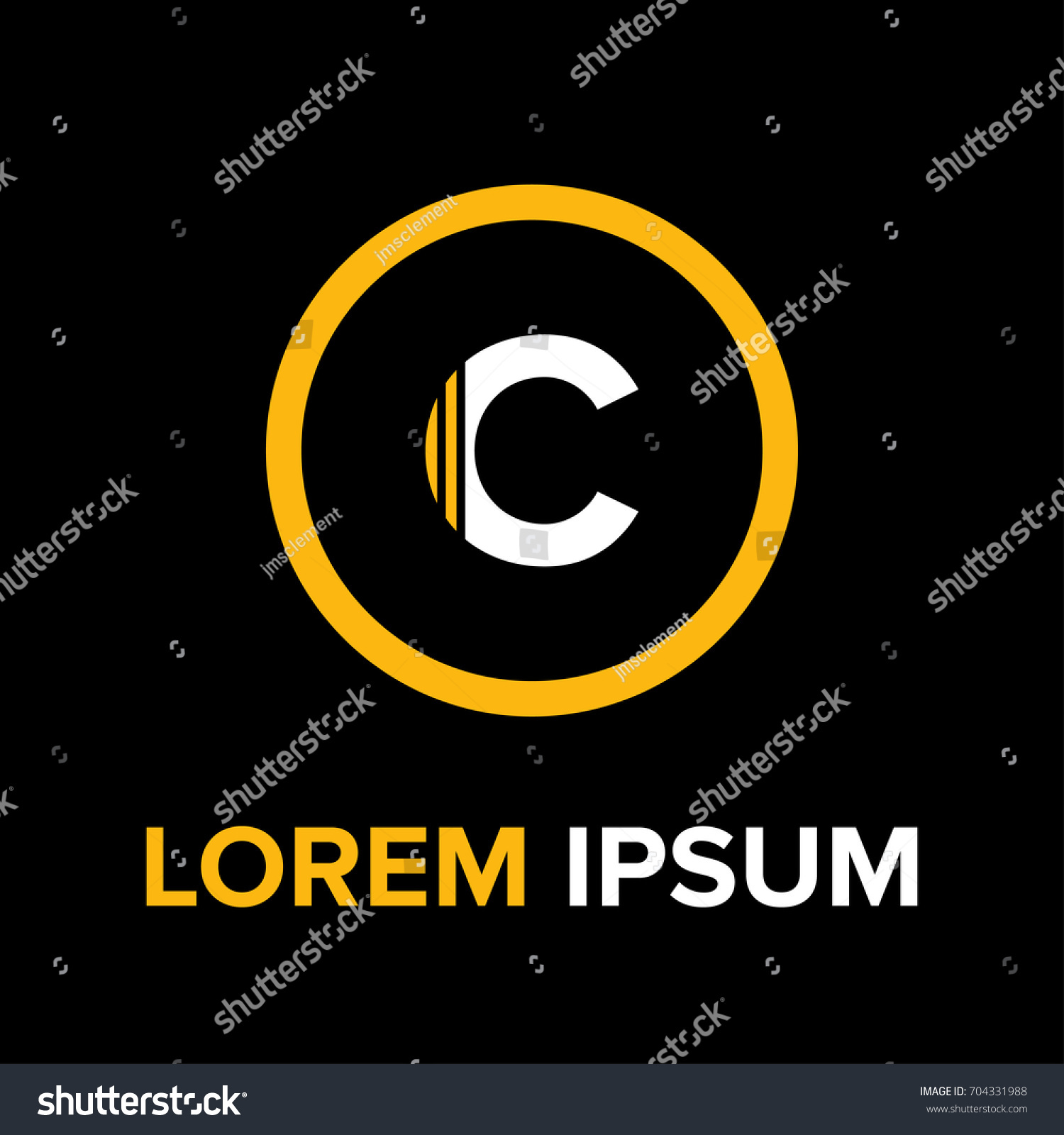 Strips letter c logo c letter stock vector 704331988 shutterstock strips letter c logo c letter design vector with strips and yellow circle for logo biocorpaavc Images