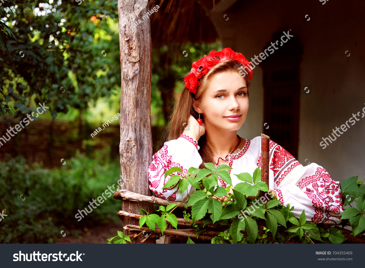 Beautiful Slavonic Girl Long Blond Hair Stock Photo Edit Now