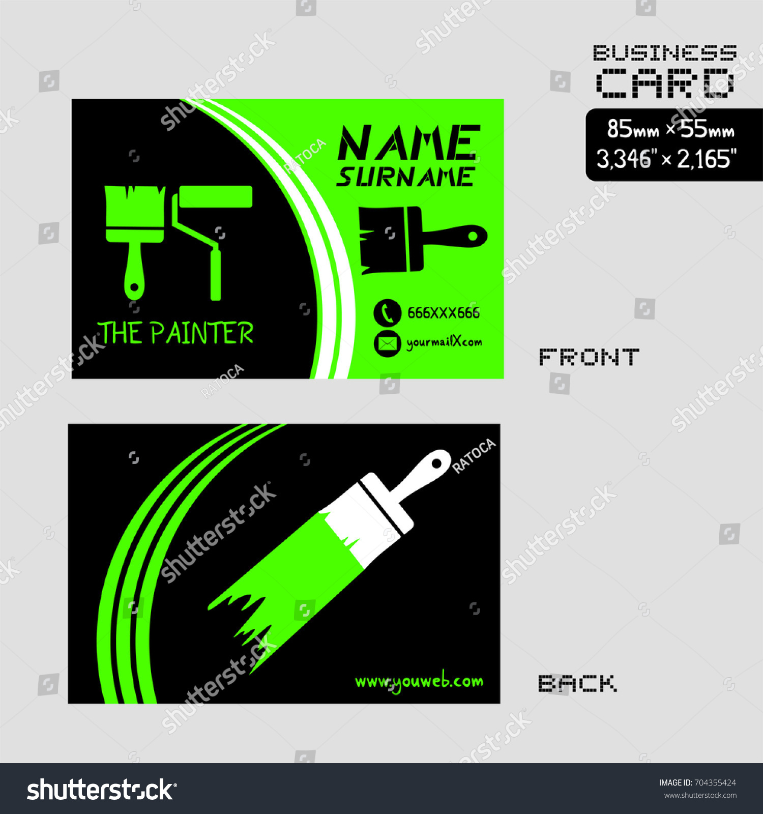 business card painter worker stock vector shutterstock