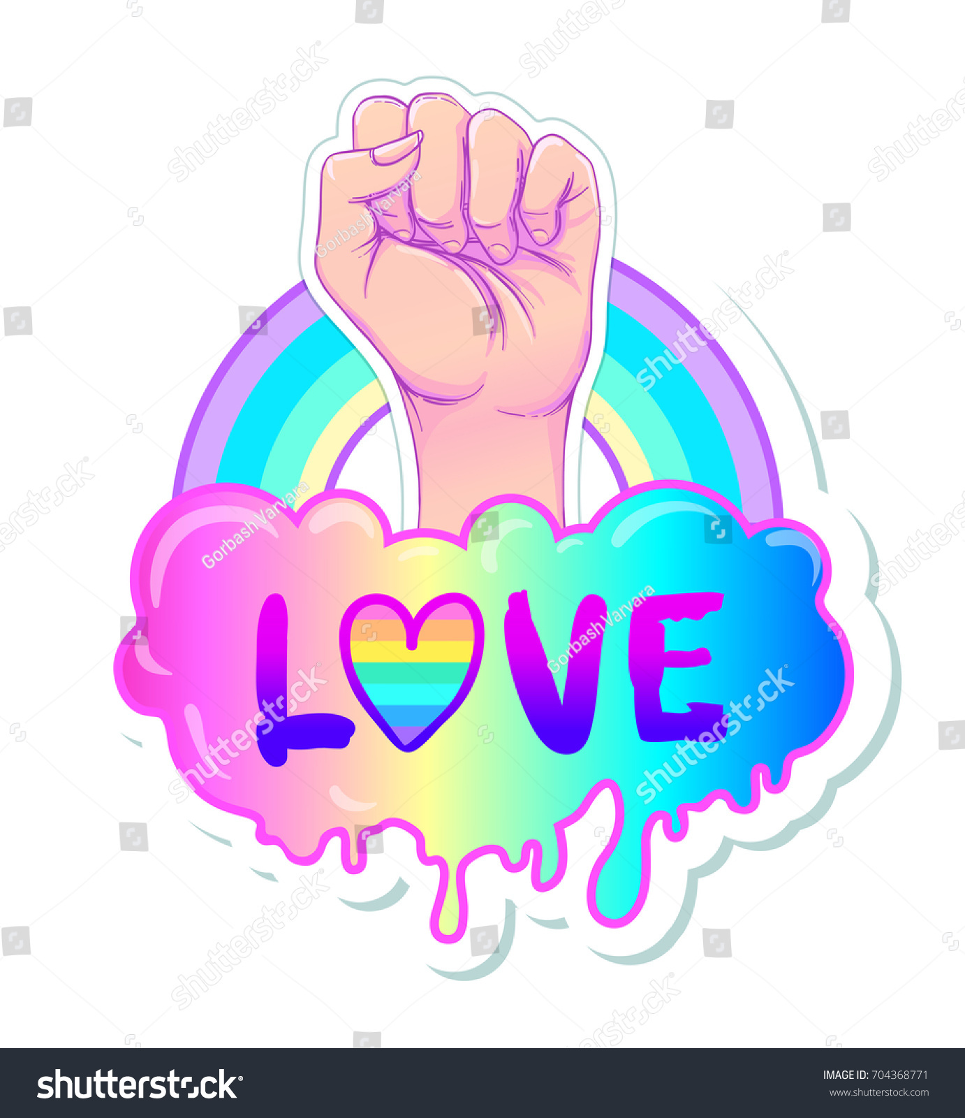 Equal love. Inspirational Gay Pride poster with rainbow spectrum colors.  Homosexuality emblem. LGBT rights concept. Sticker, patch, poster graphic  design.