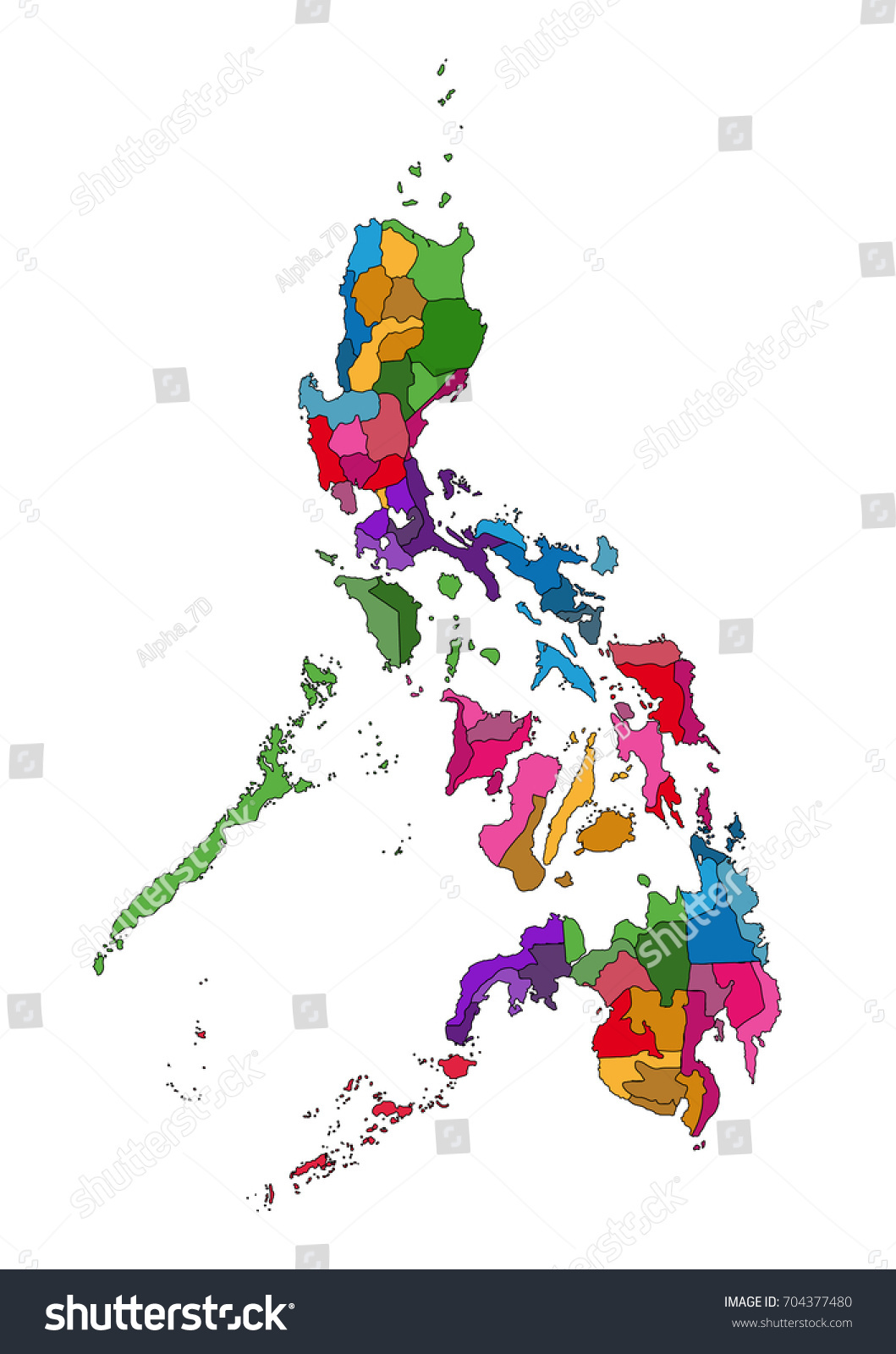 Picture of: Philippines Map Republic Philippine Sovereign Island Stock Illustration 704377480