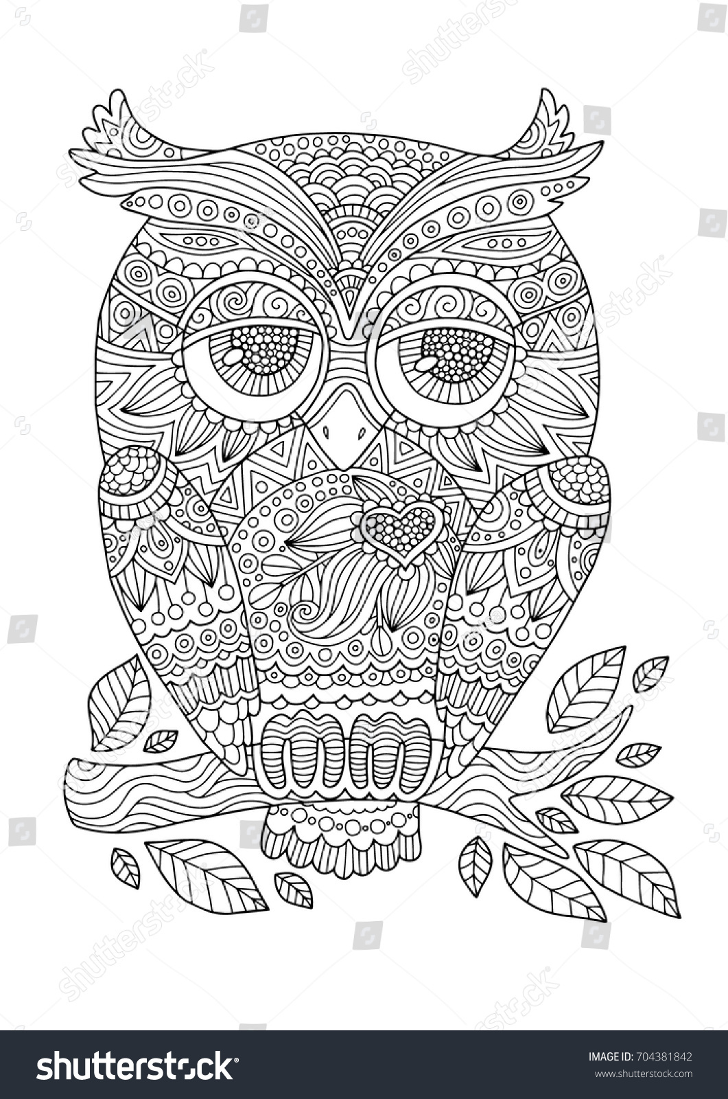 Coloring Book Page Lovely Owl Doodles Stock Vector (Royalty Free ...